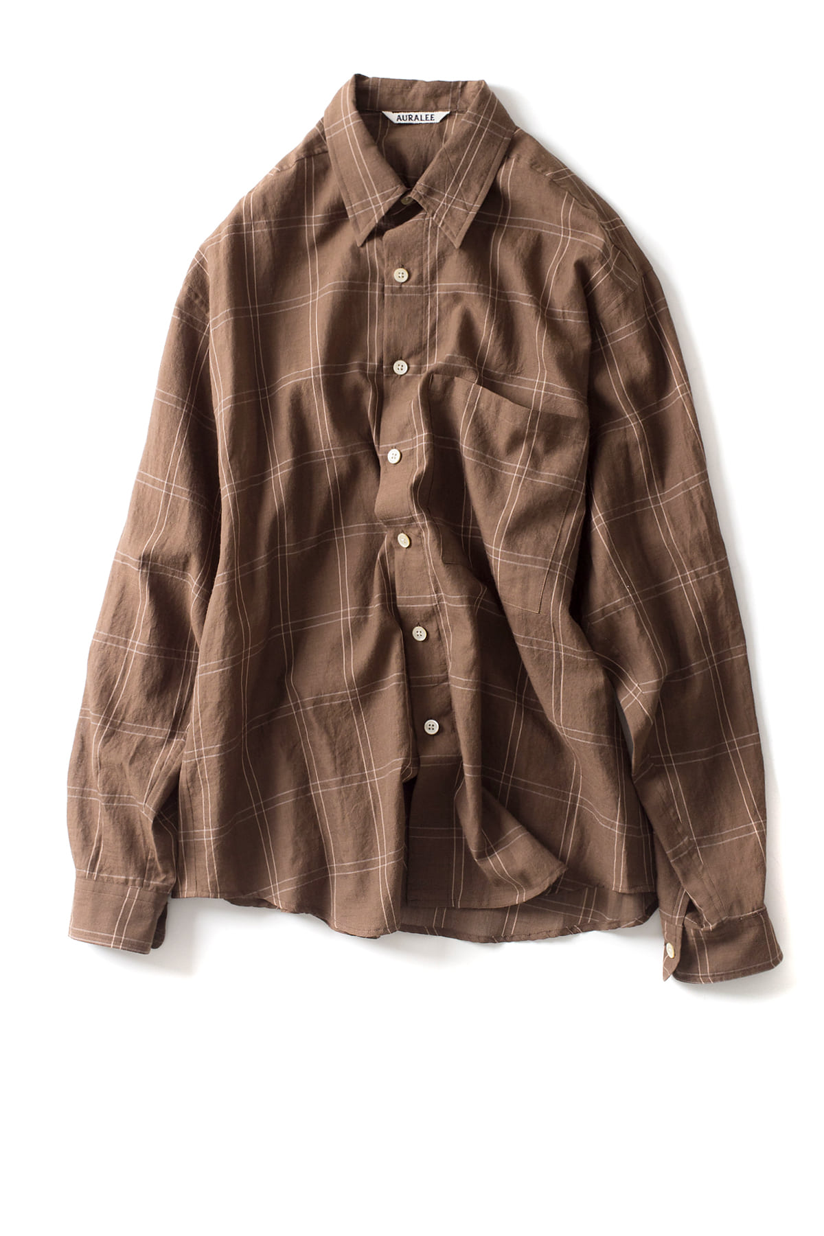 Auralee : Super Light Check Big Shirts (Brown)