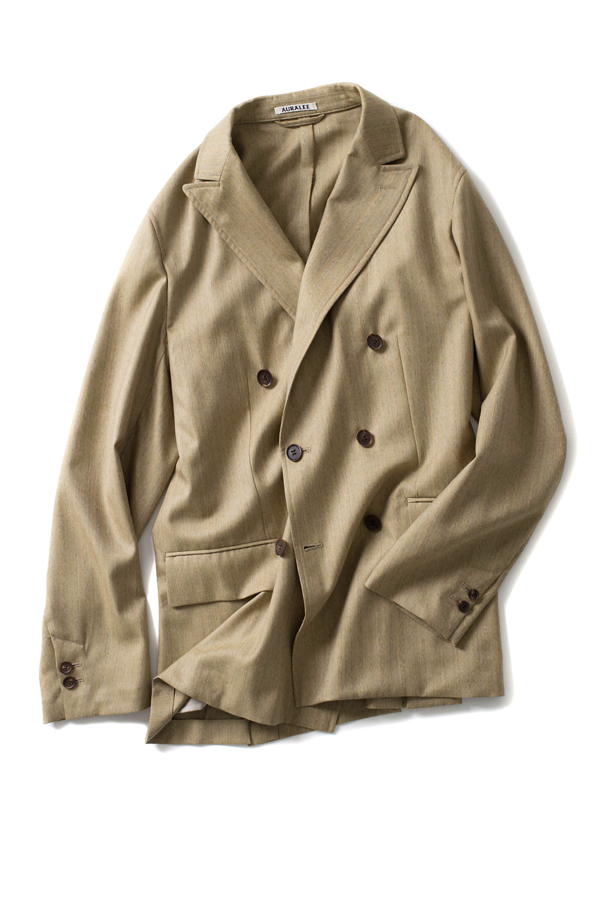 Auralee : Wool Silk Herringbone Double Breasted Jacket (Beige)