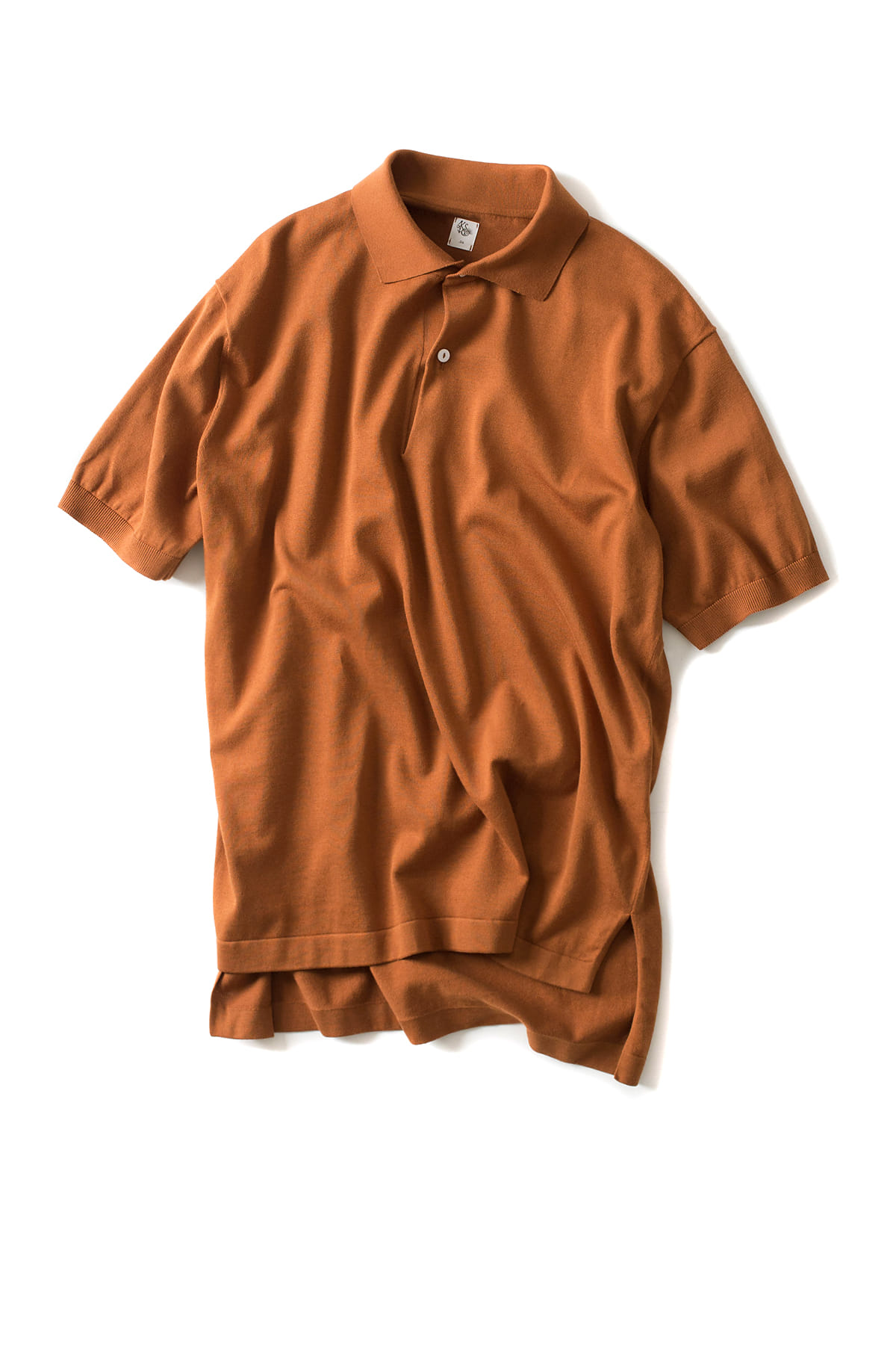 Kaptain Sunshine : Knit Polo Collar Shirt (Orange)
