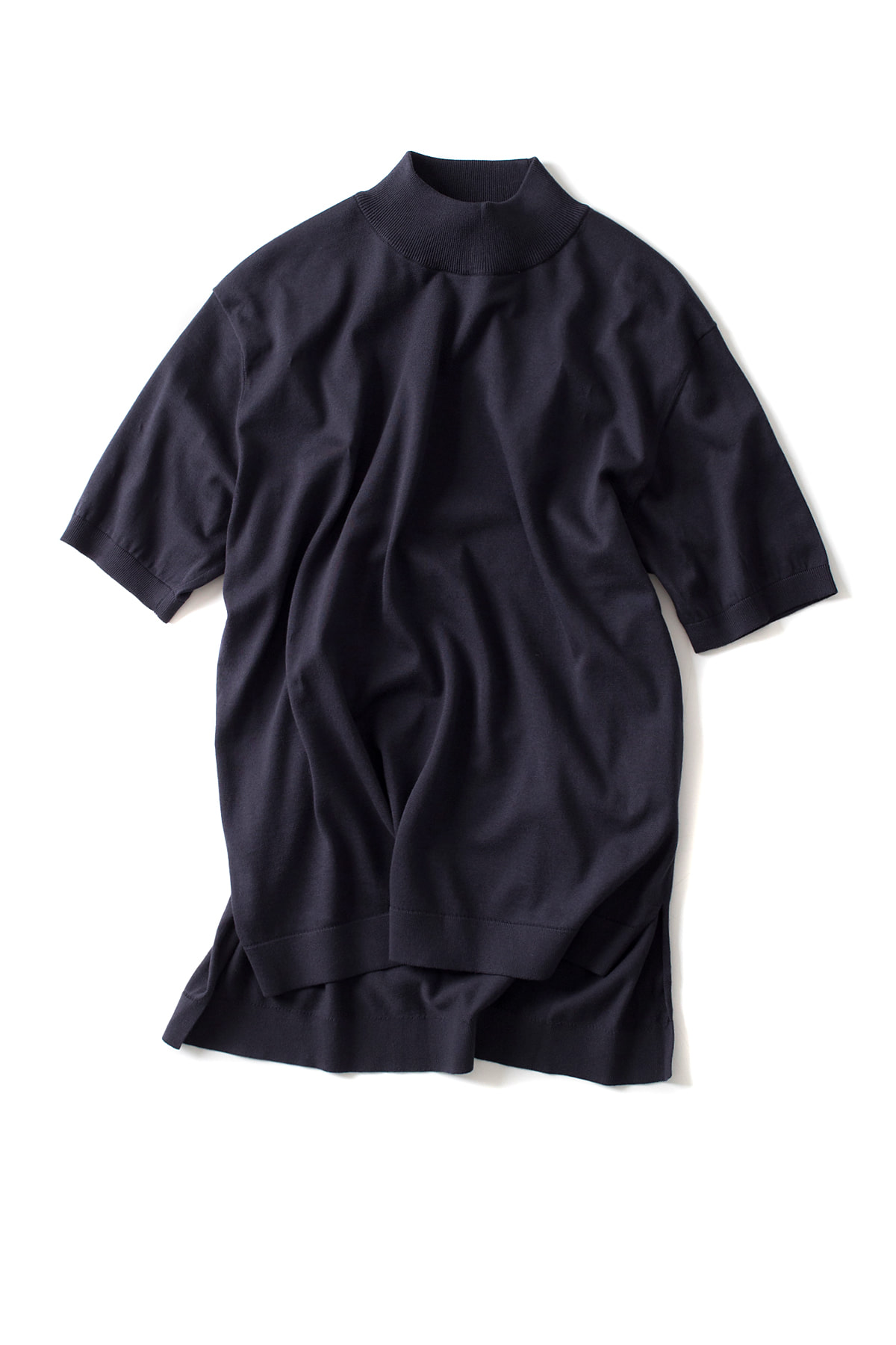 Kaptain Sunshine : Mockneck Half Sleeved Knit T (Navy)