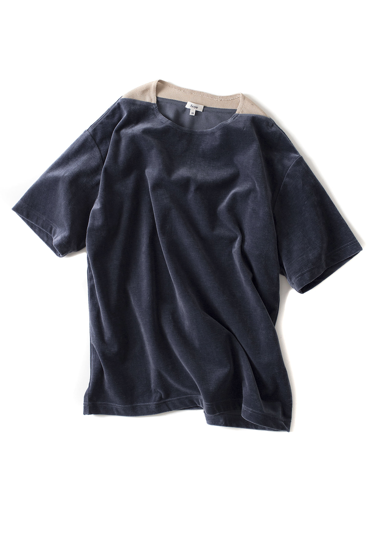 Scye : Cotton Velours T-Shirt (Smoke Blue)