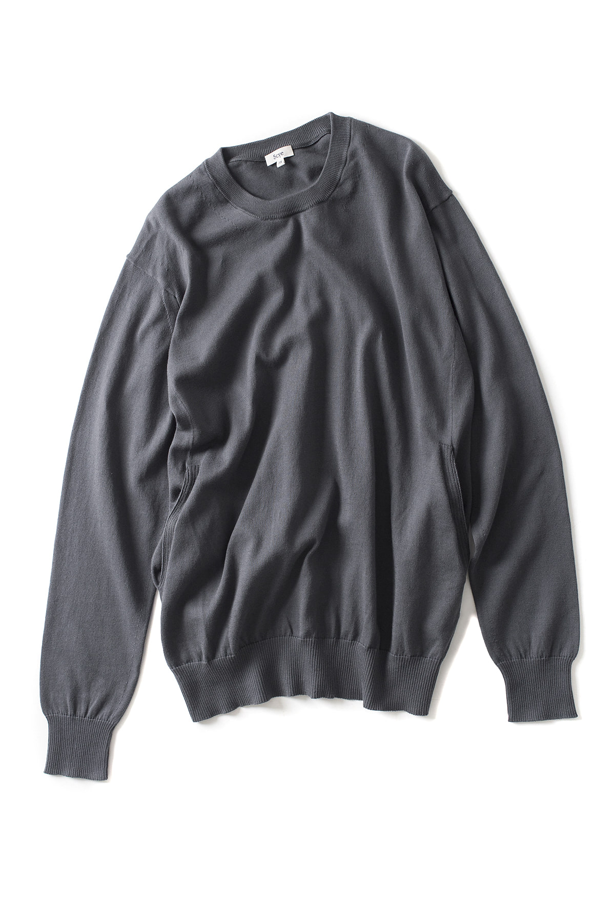 Scye : Cotton Crew Neck Sweater (D.Grey)