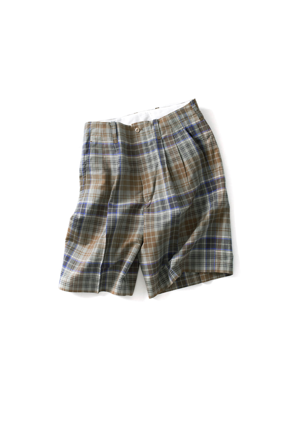 Scye : Cotton And Linen Plaid Shorts (Blue)