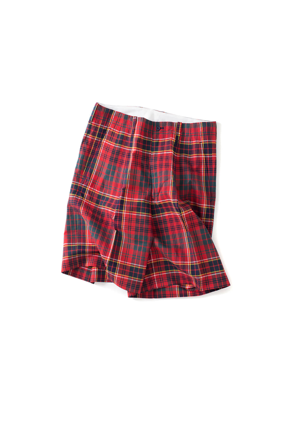 Scye : Cotton And Linen Plaid Shorts (Red)