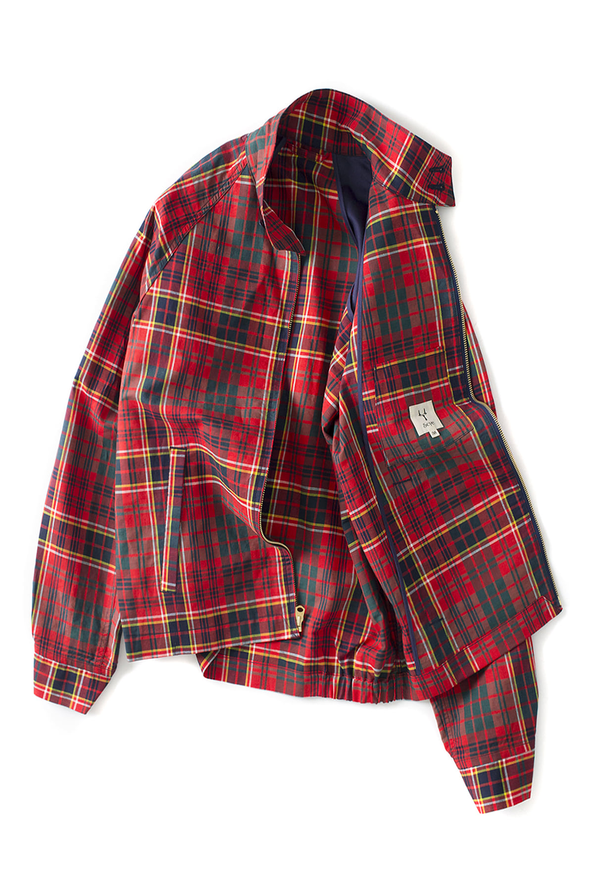 Scye : Cotton And Linen Plaid Harrington Jacket (Red)