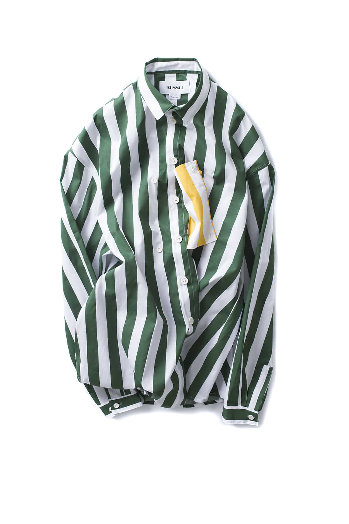 SUNNEI : Shirt With Pocket Panel (Green Stripe)
