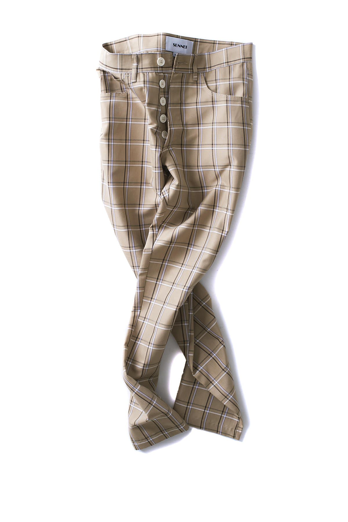 SUNNEI : 5Pocket Skinny Pants (Beige Check)