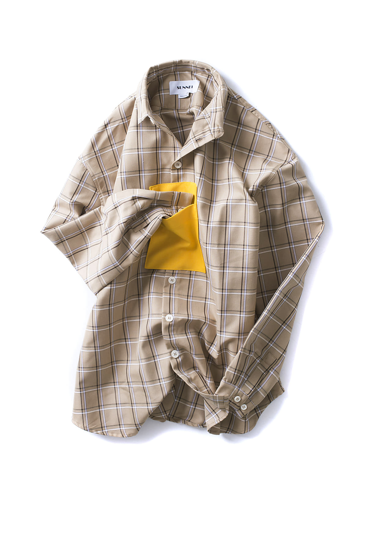 SUNNEI : Shirt With Pocket Panel (Beige Check)