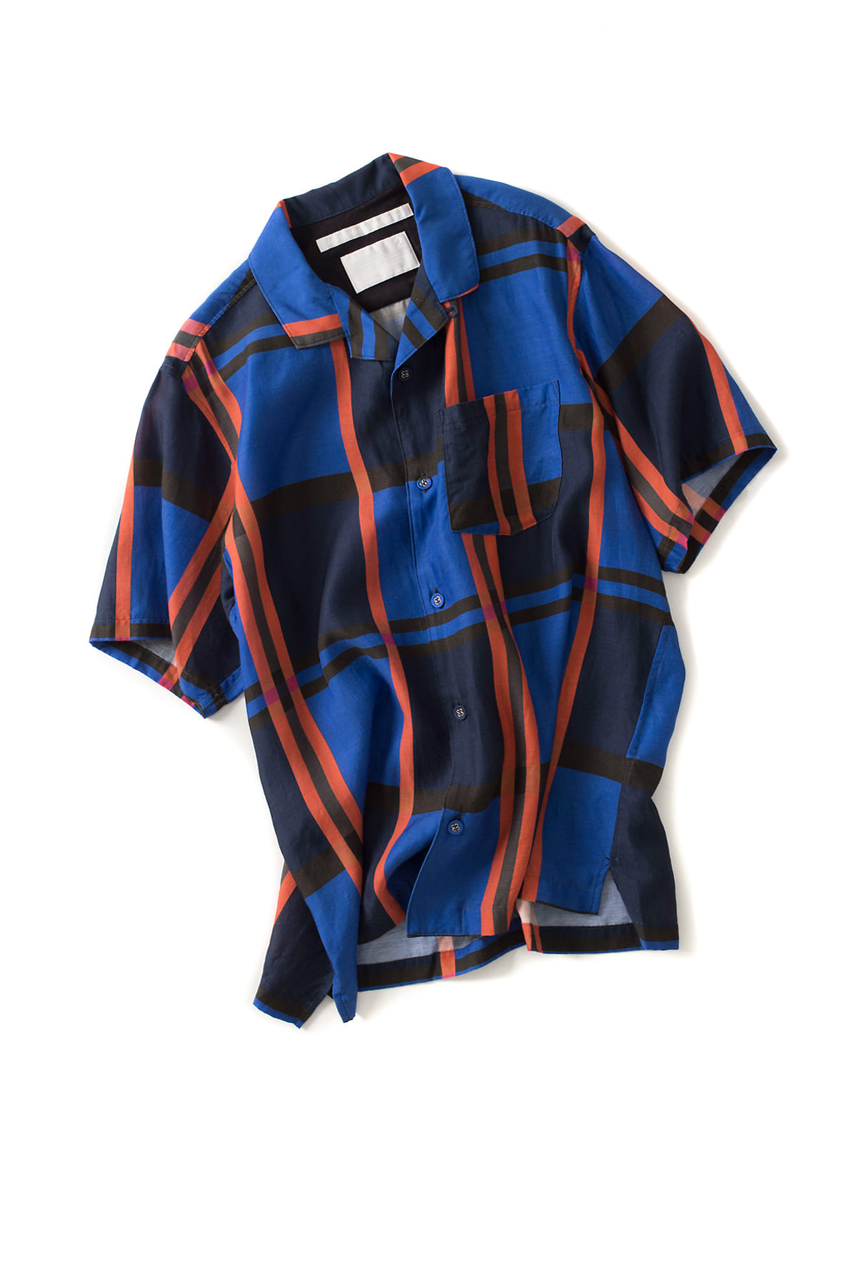 WHITE MOUNTAINEERING : Blue Large Check Printed Open Collar (Check)
