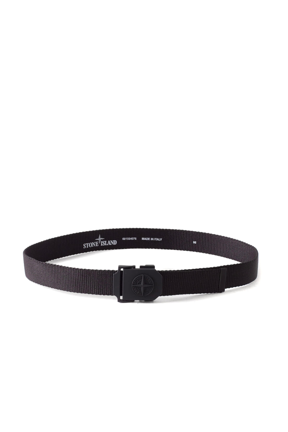Stone Island : Stone Logo Ribbon Belt (Black)