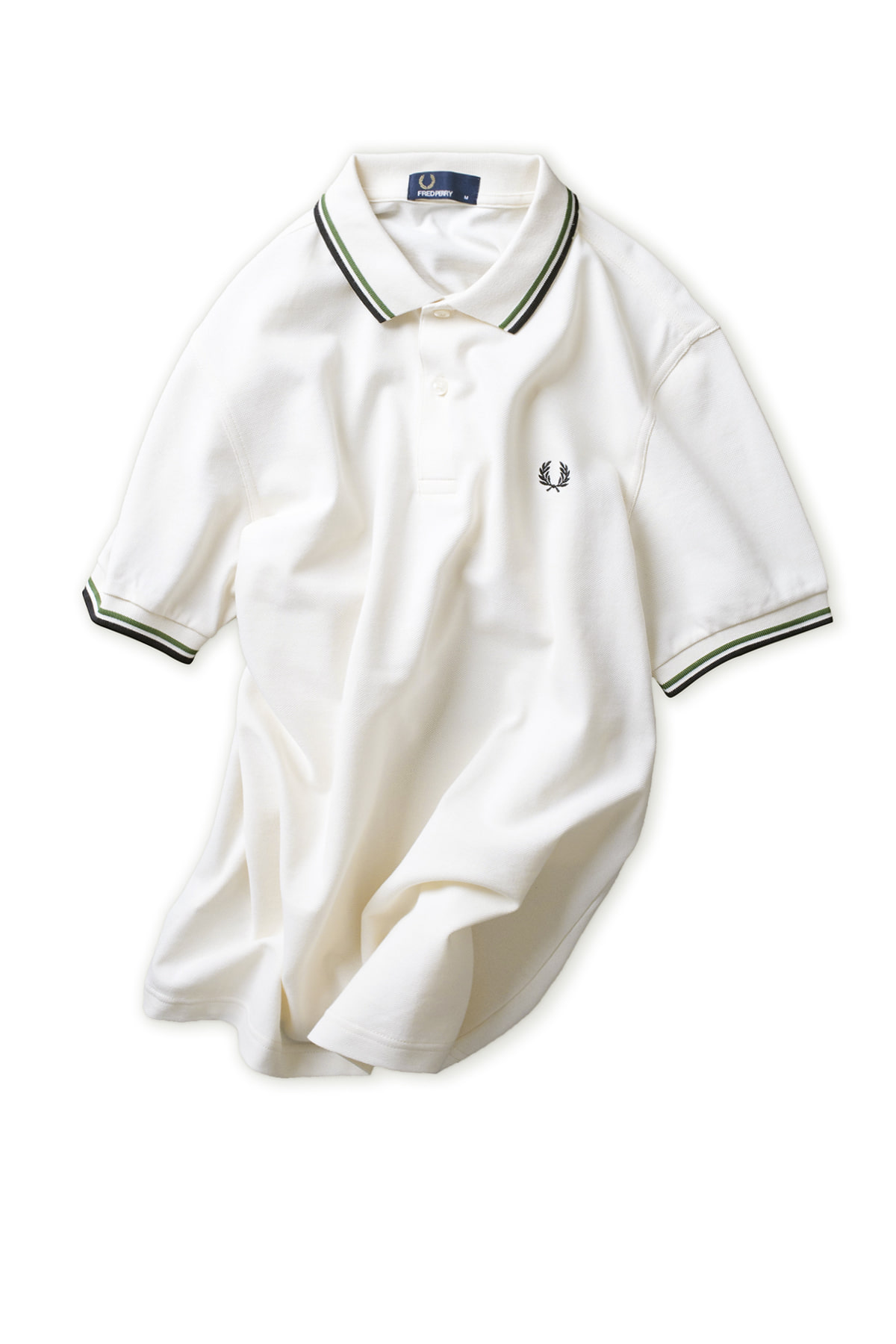 FRED PERRY : Twin Tipped Fred Perry Shirt (Ecru/Verde/Black)