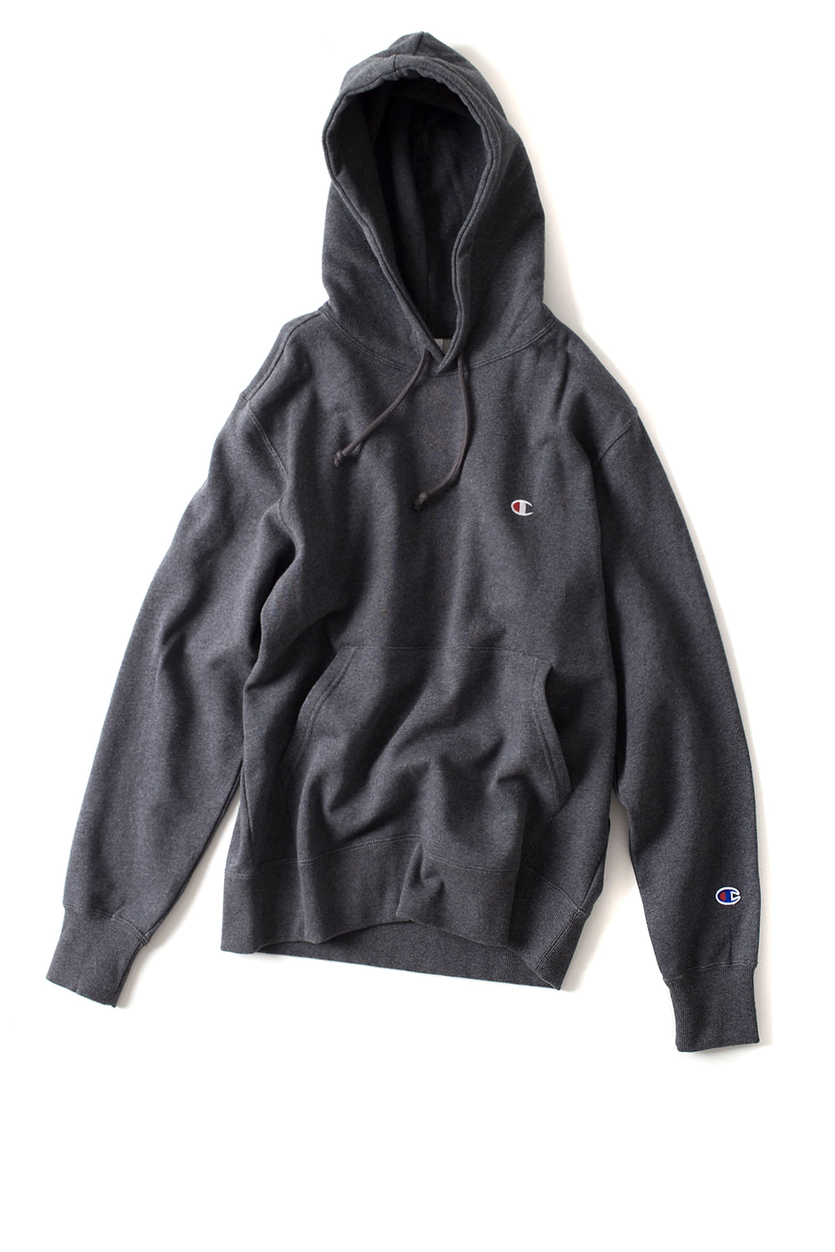 Champion : Basic Pullover Hooded SweatShirt (Heather Charcoal)