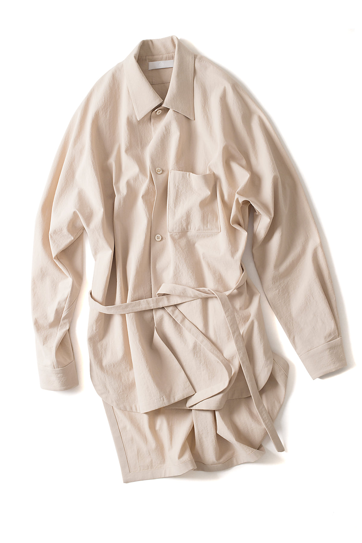 ETHOSENS : Strong Twine Cotton Shirt Coat (Sand)