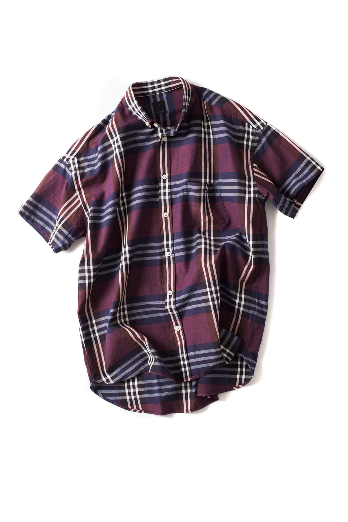 maillot : Big Check S/S Relax BD Shirt (Wine)