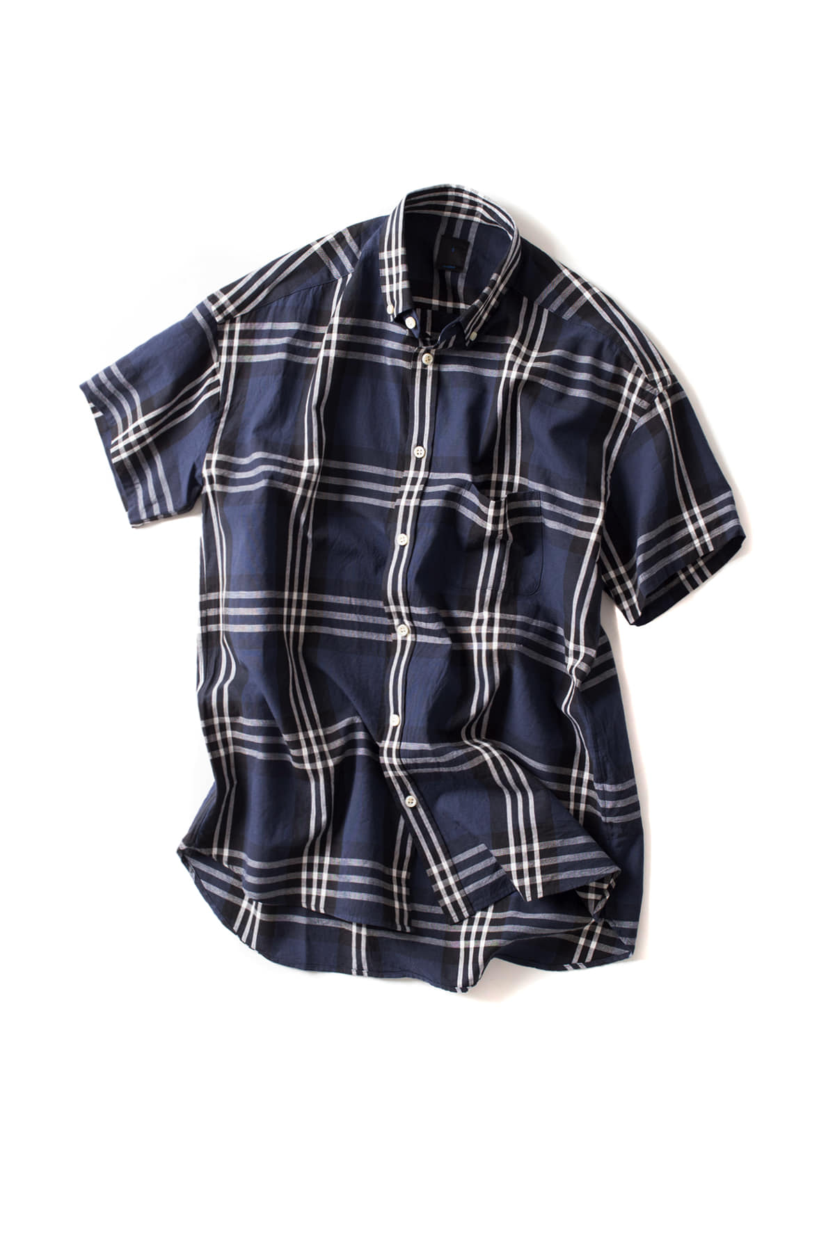 maillot : Big Check S/S Relax BD Shirt (Navy)
