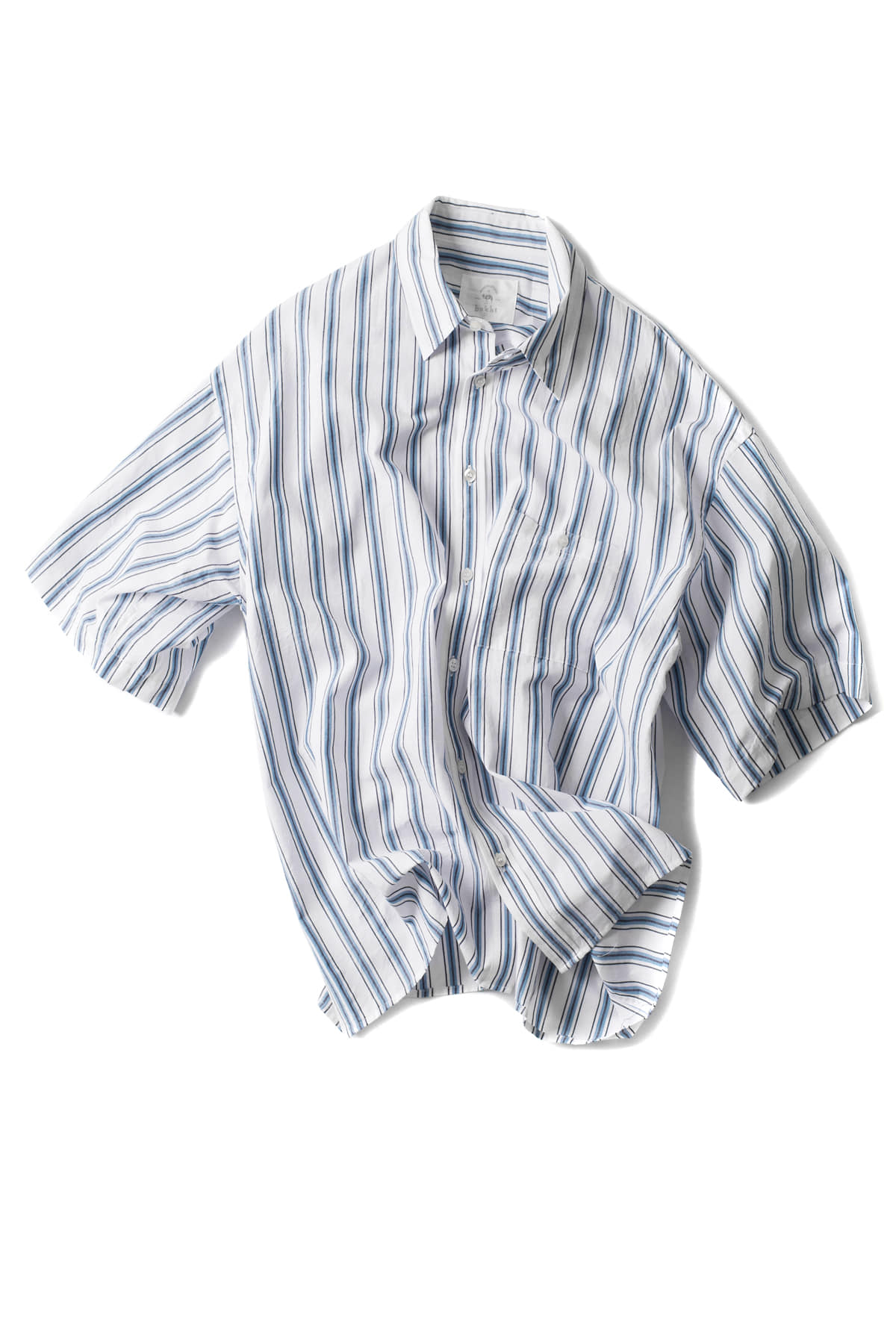 bukht : Basic Short Sleeve Shirts (Blue Stripe)