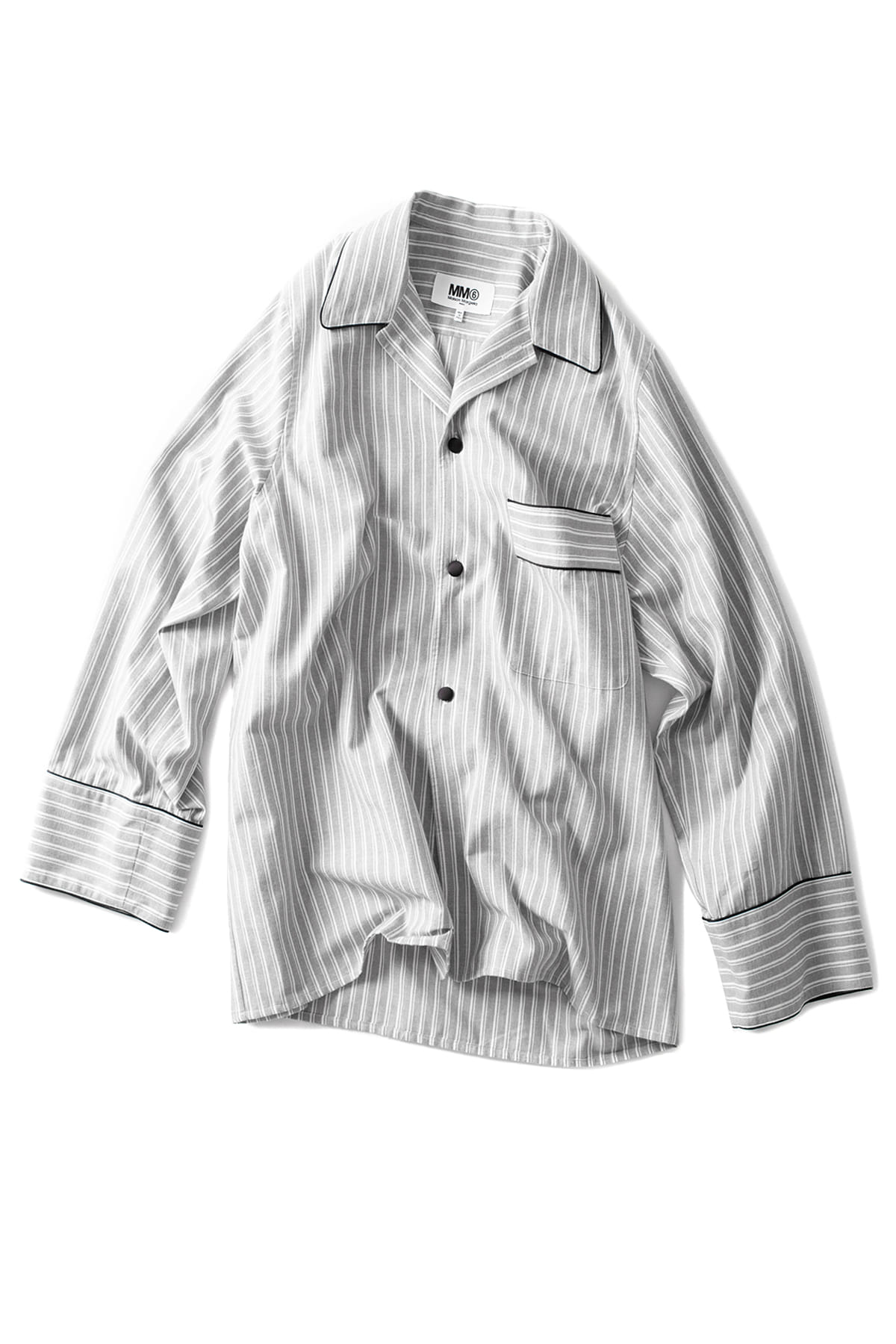 MM6 Maison Margiela : Oversized Stripe Pajama Shirt (Light Grey)
