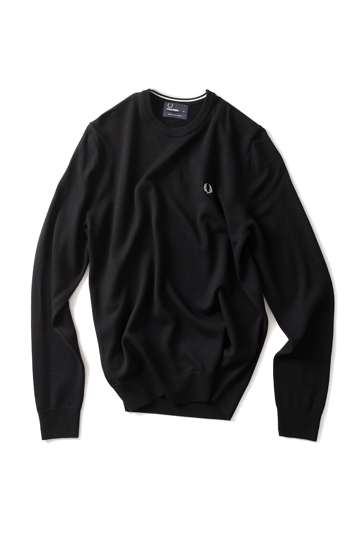 FRED PERRY : Classic Merino Crew Neck Sweater (Black)