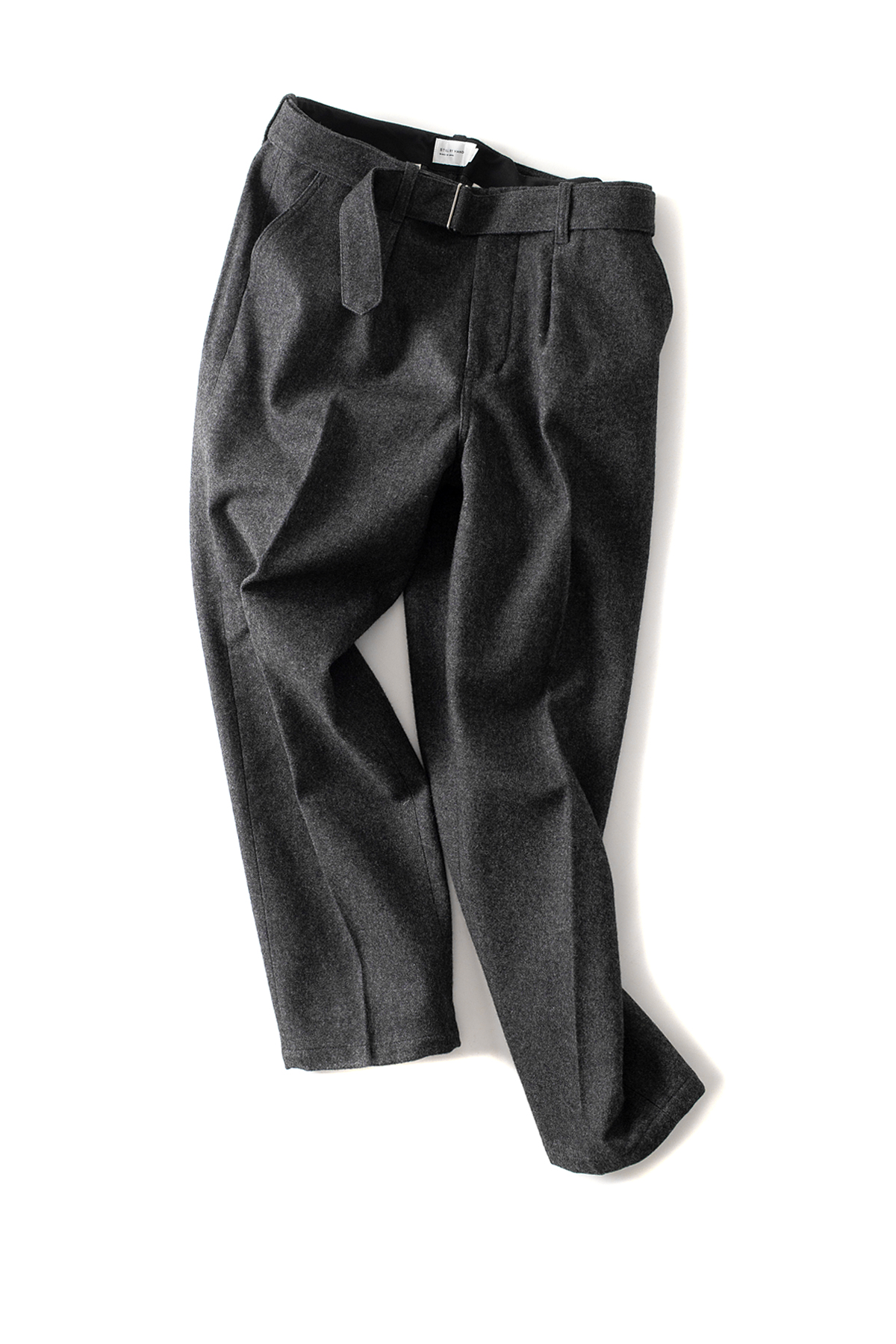 Still by Hand : Belted Melton Pants (Grey)