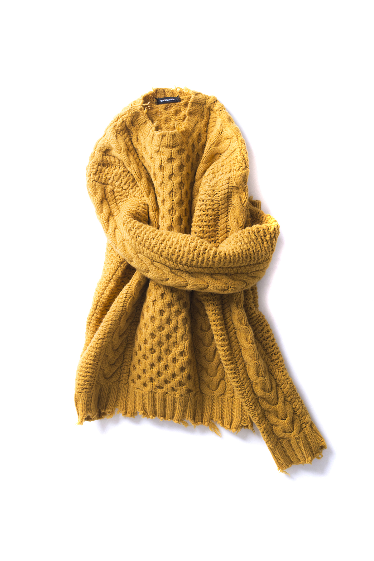 Christian Dada : Damaged Cable Knit Sweater (Mustard)