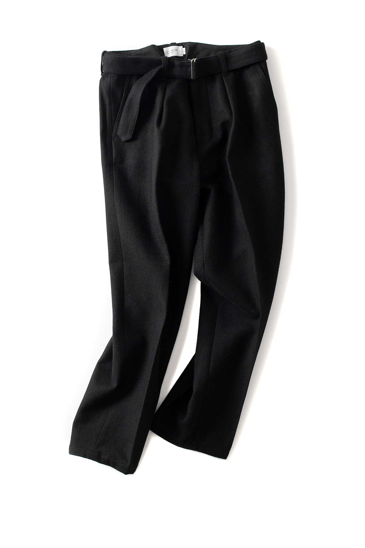 Still by Hand : Belted Melton Pants (Black)