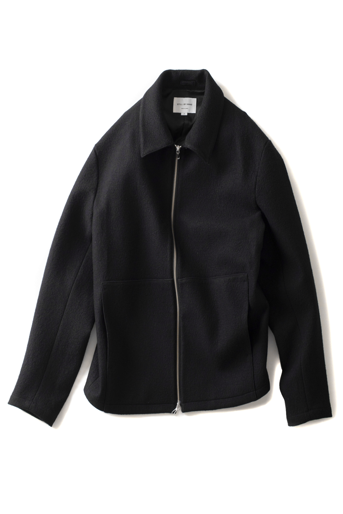 Still by Hand : Loop Yarn Zip-Up Blouson (Black)