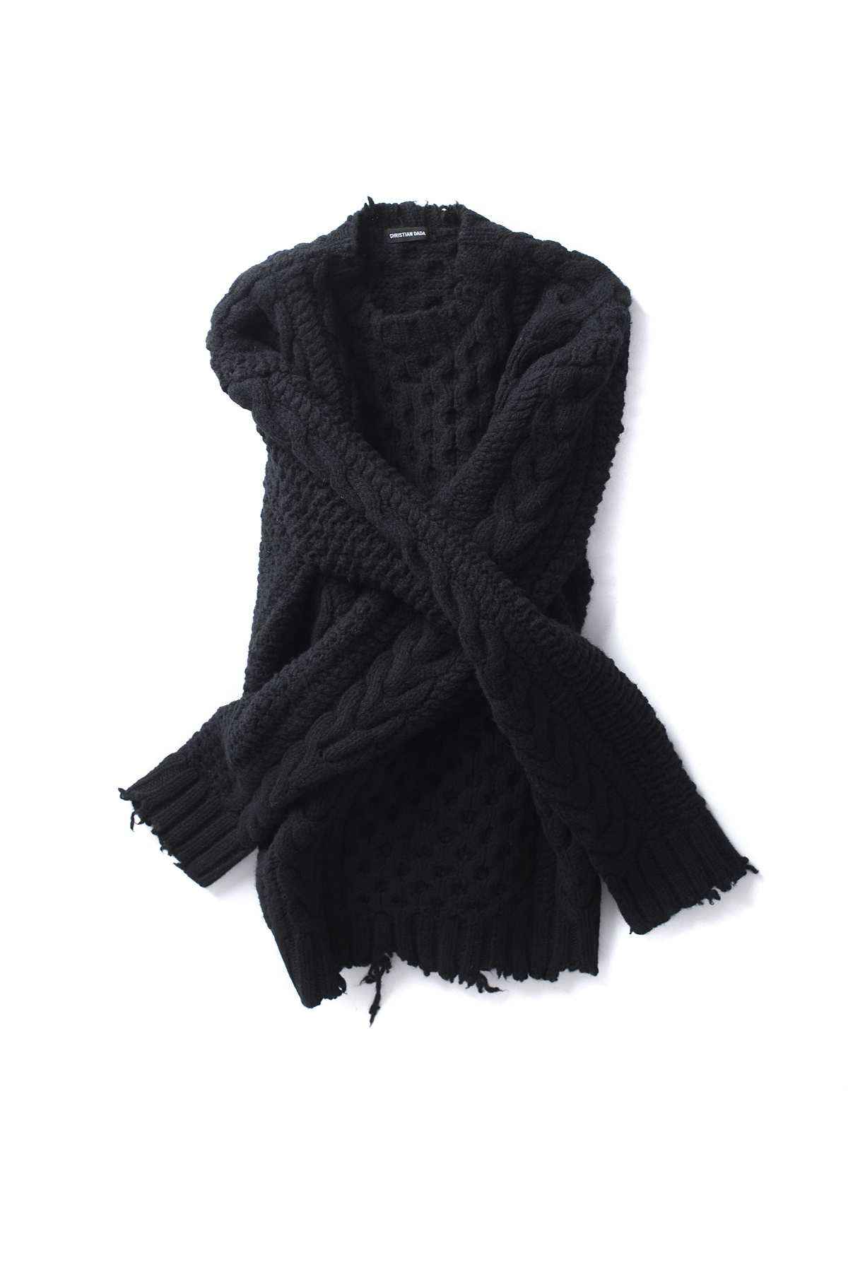 Christian Dada : Damaged Cable Knit Sweater (Black)