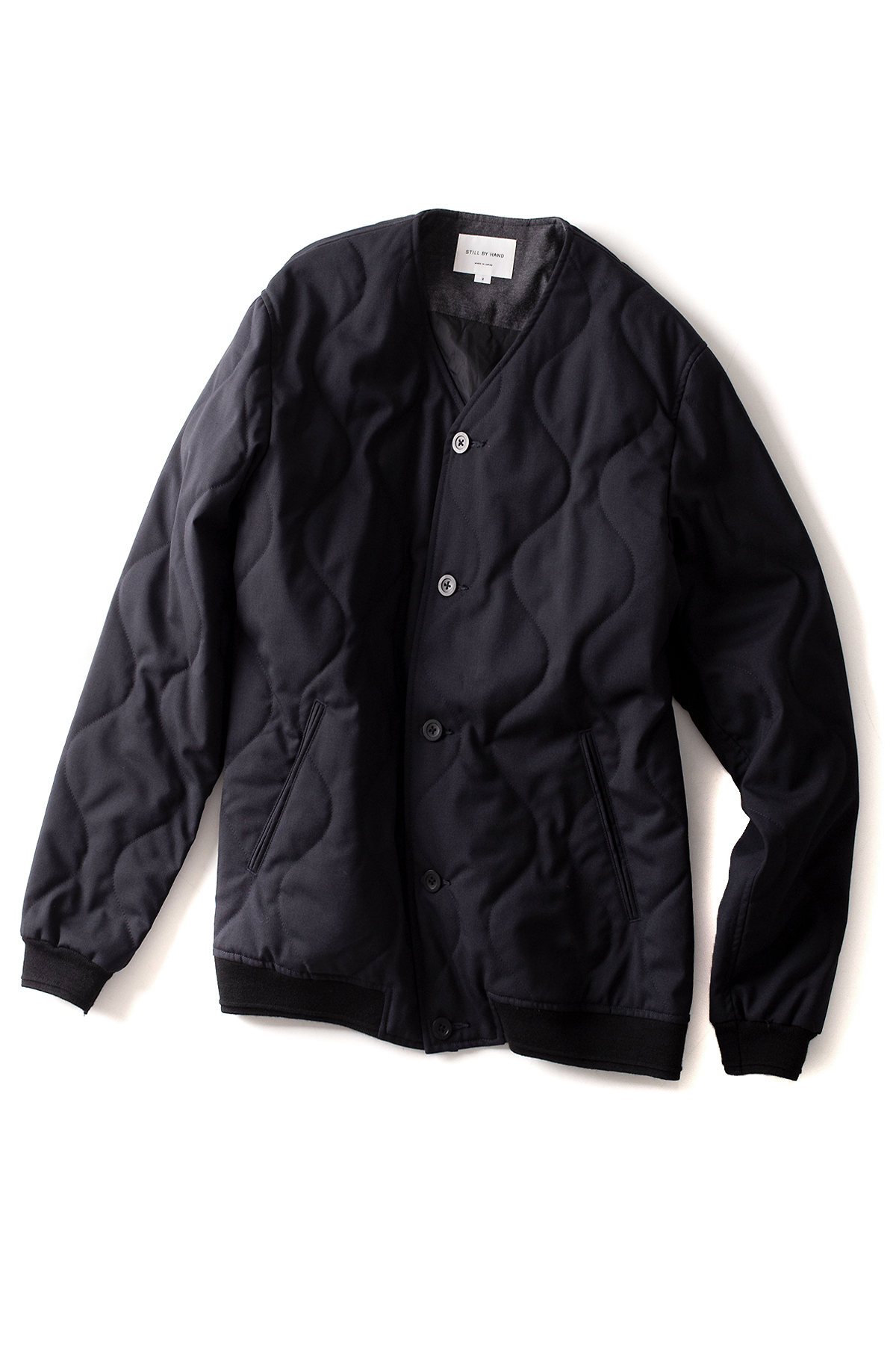 Still by Hand : Quilting Wool Blouson (Navy)