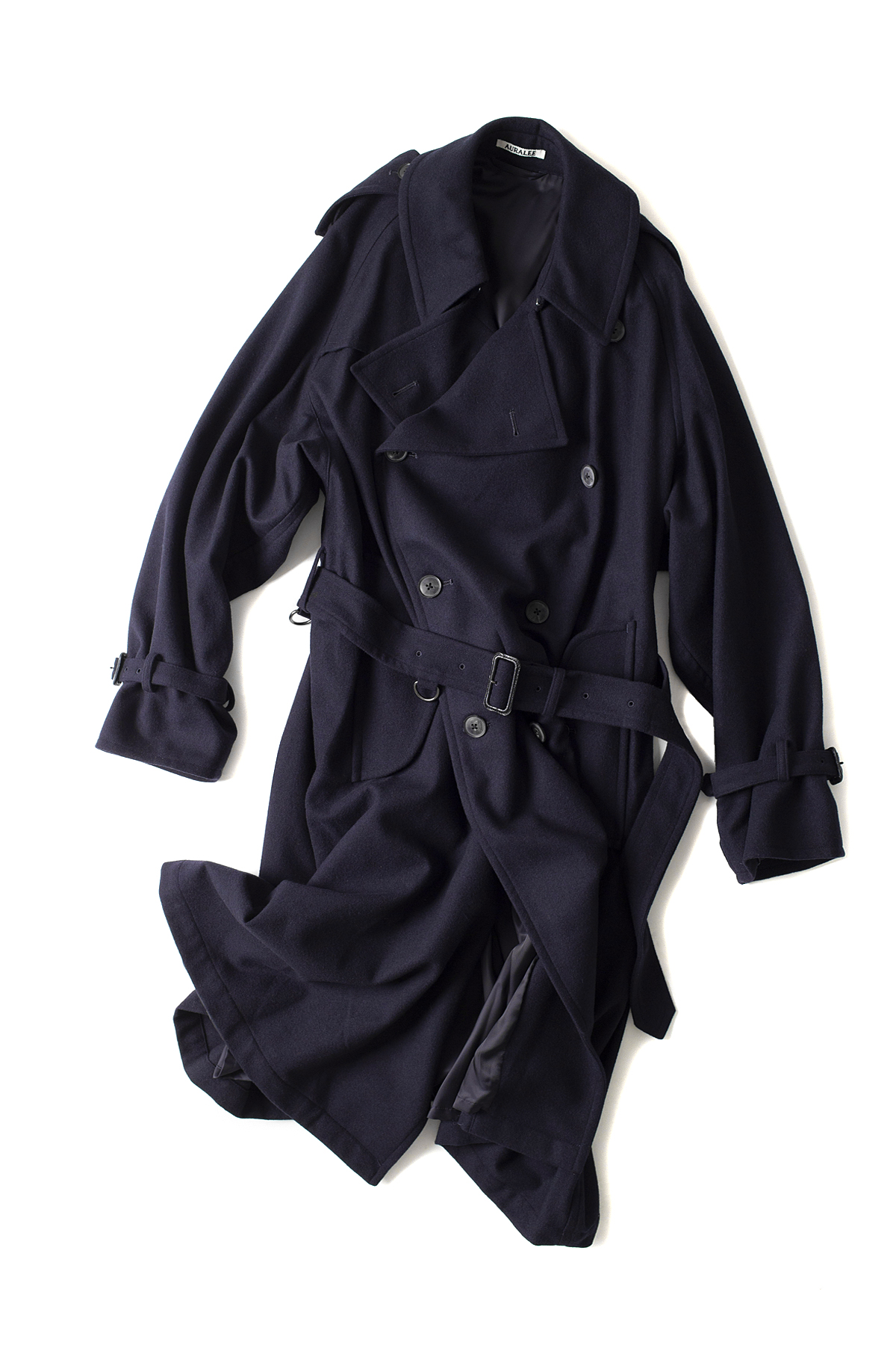 Auralee : Wool Cashmere Flannel Big Trench Coat (Navy)