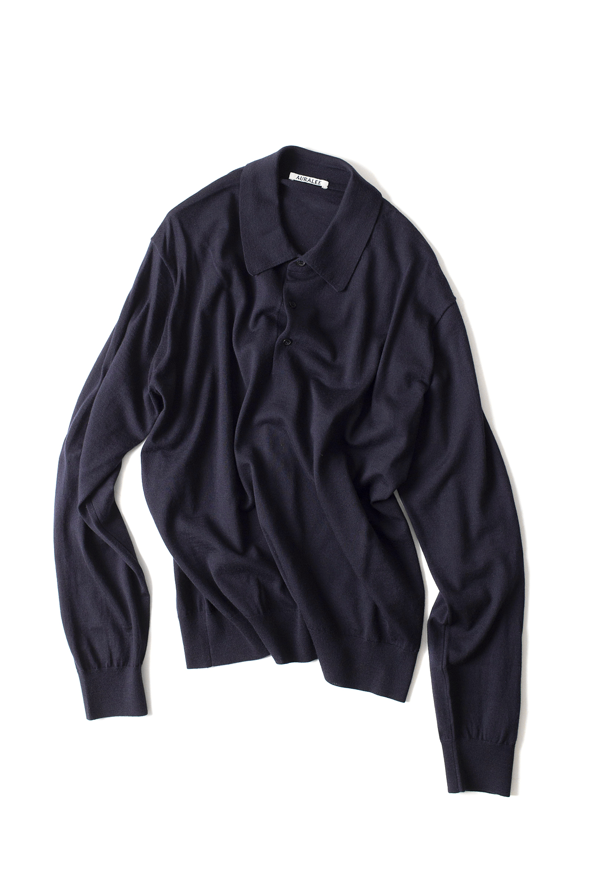 Auralee : Wool Cashmere High Gauge Knit Polo (Navy)
