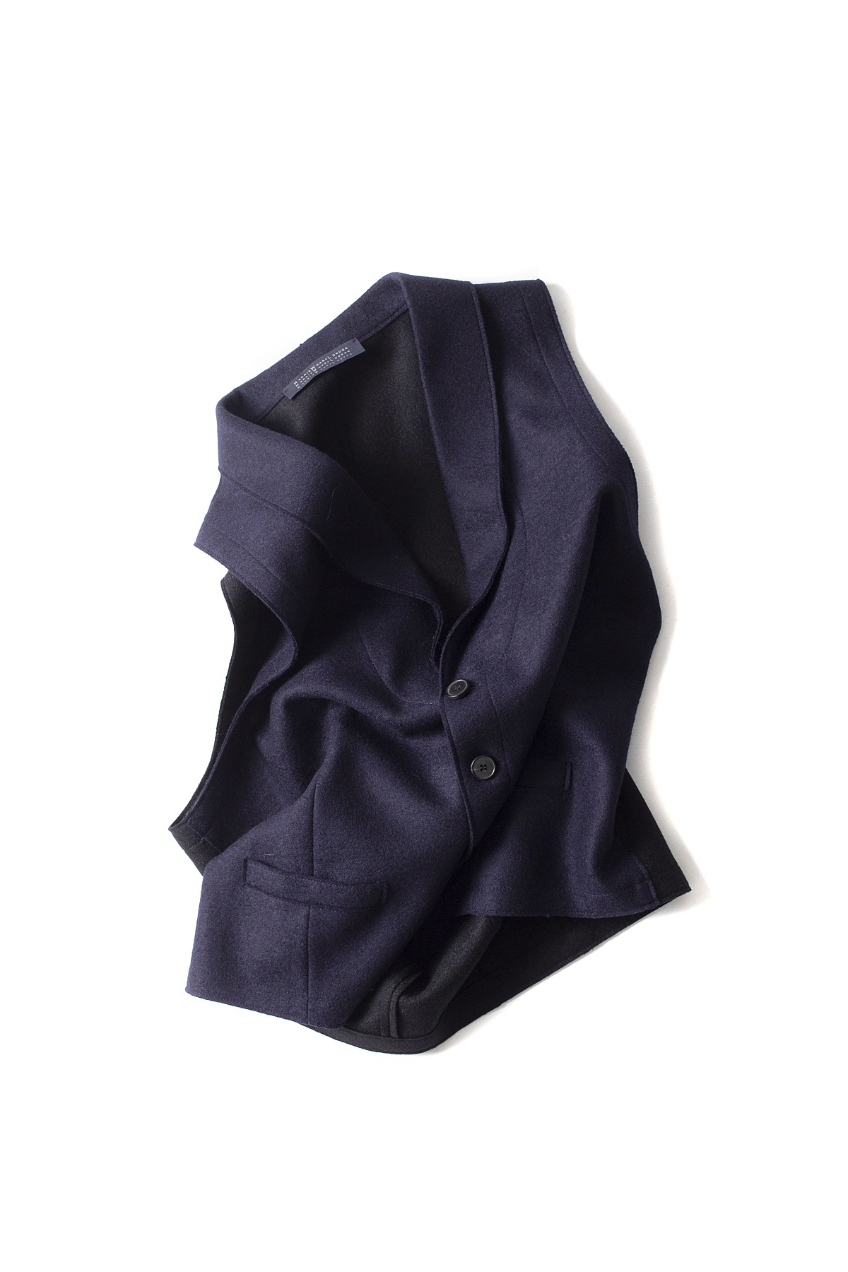Harris Wharf London : Blcolour Light Waist Coat (Navy)