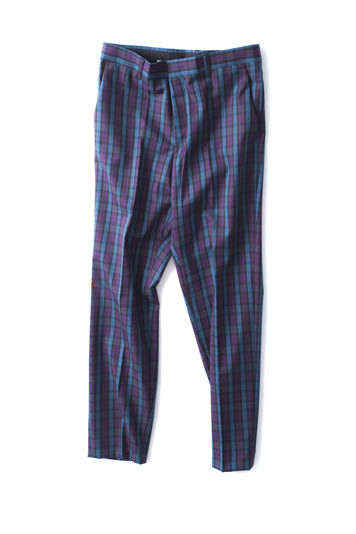BIRTHDAYSUIT : Wool Check Slim Pants (Purple)