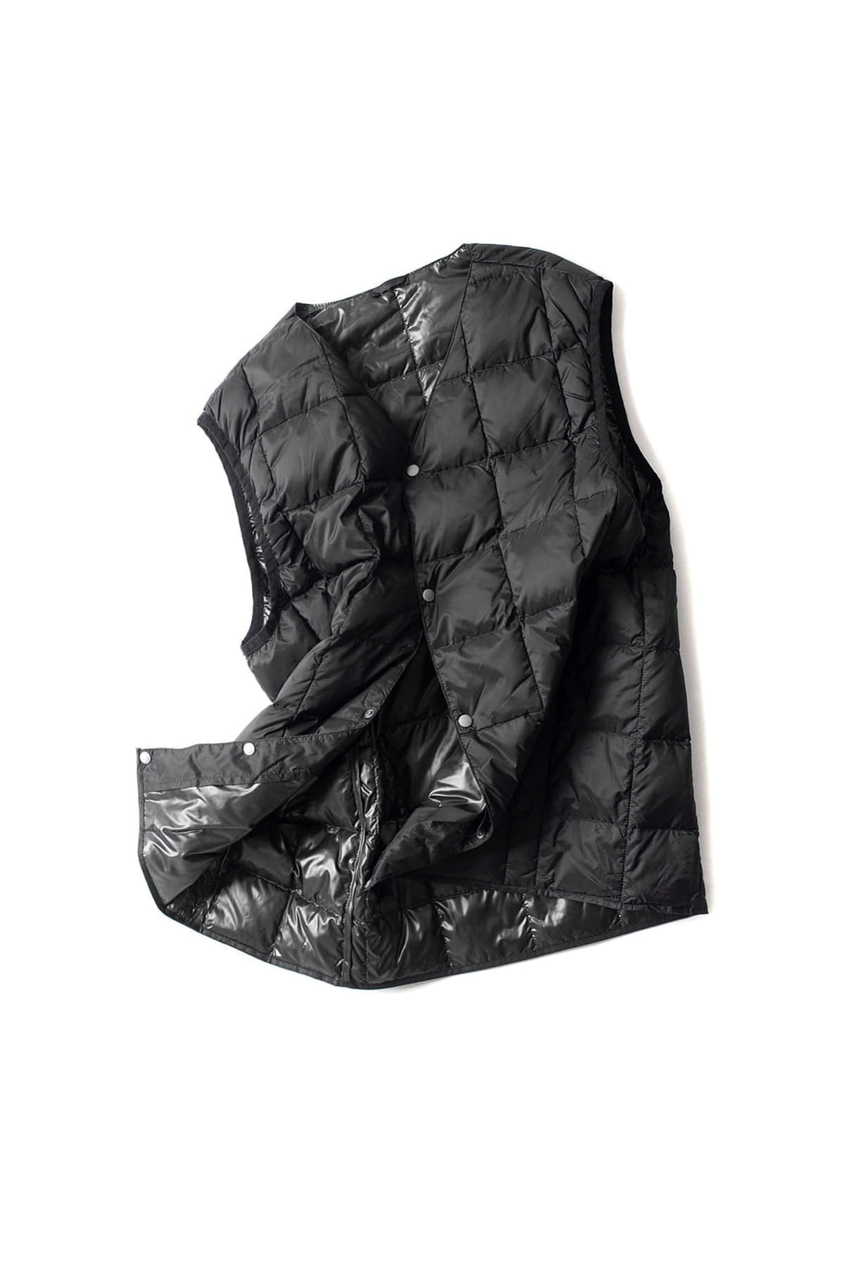 TAION : V Neck Button Down Vest (Black)