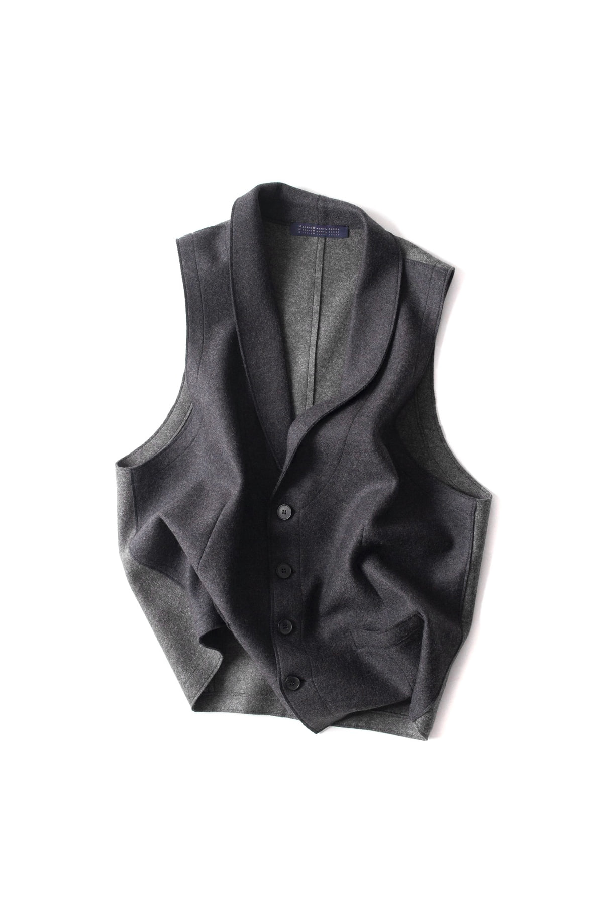 Harris Wharf London : Blcolour Light Waist Coat (Charcoal)