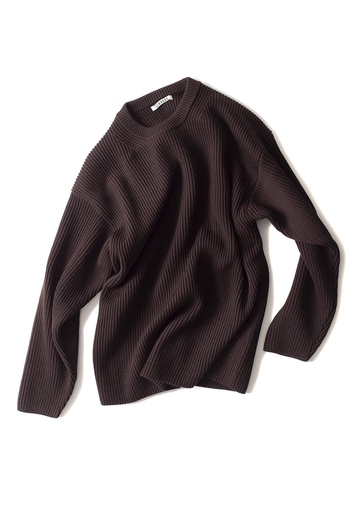 Auralee : Super Fine Wool Rib Knit Big P/O (Dark Brown)