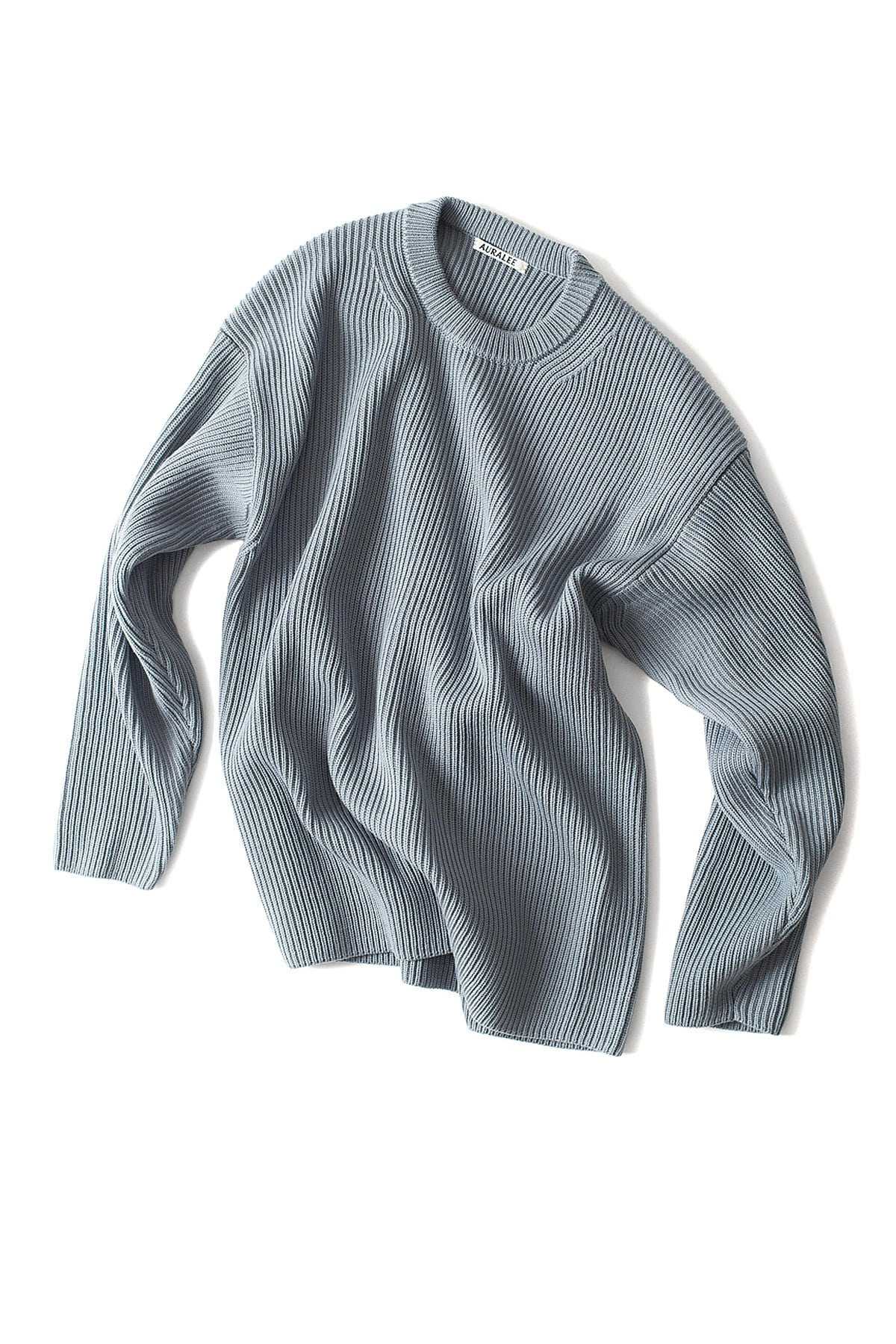 Auralee : Super Fine Wool Rib Knit Big P/O (Blue Gray)