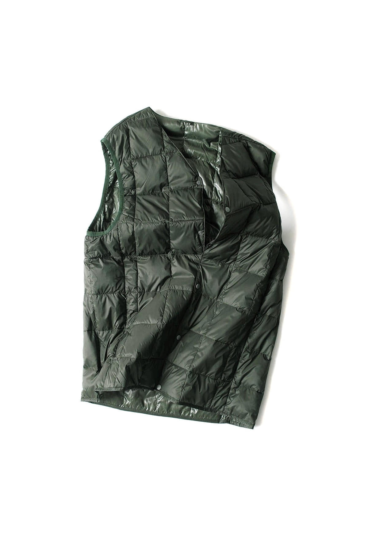 TAION :  V Neck Button Down Vest (Green)