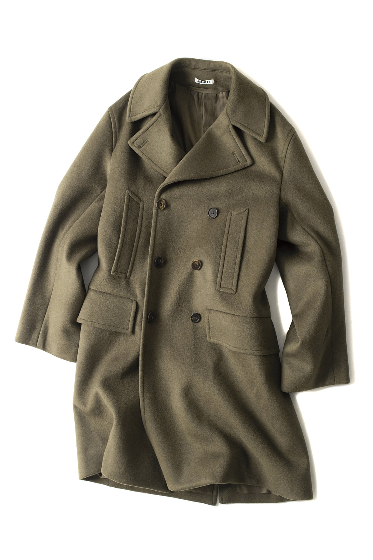 Auralee : Beaver Melton P-Coat (Olive Brown)