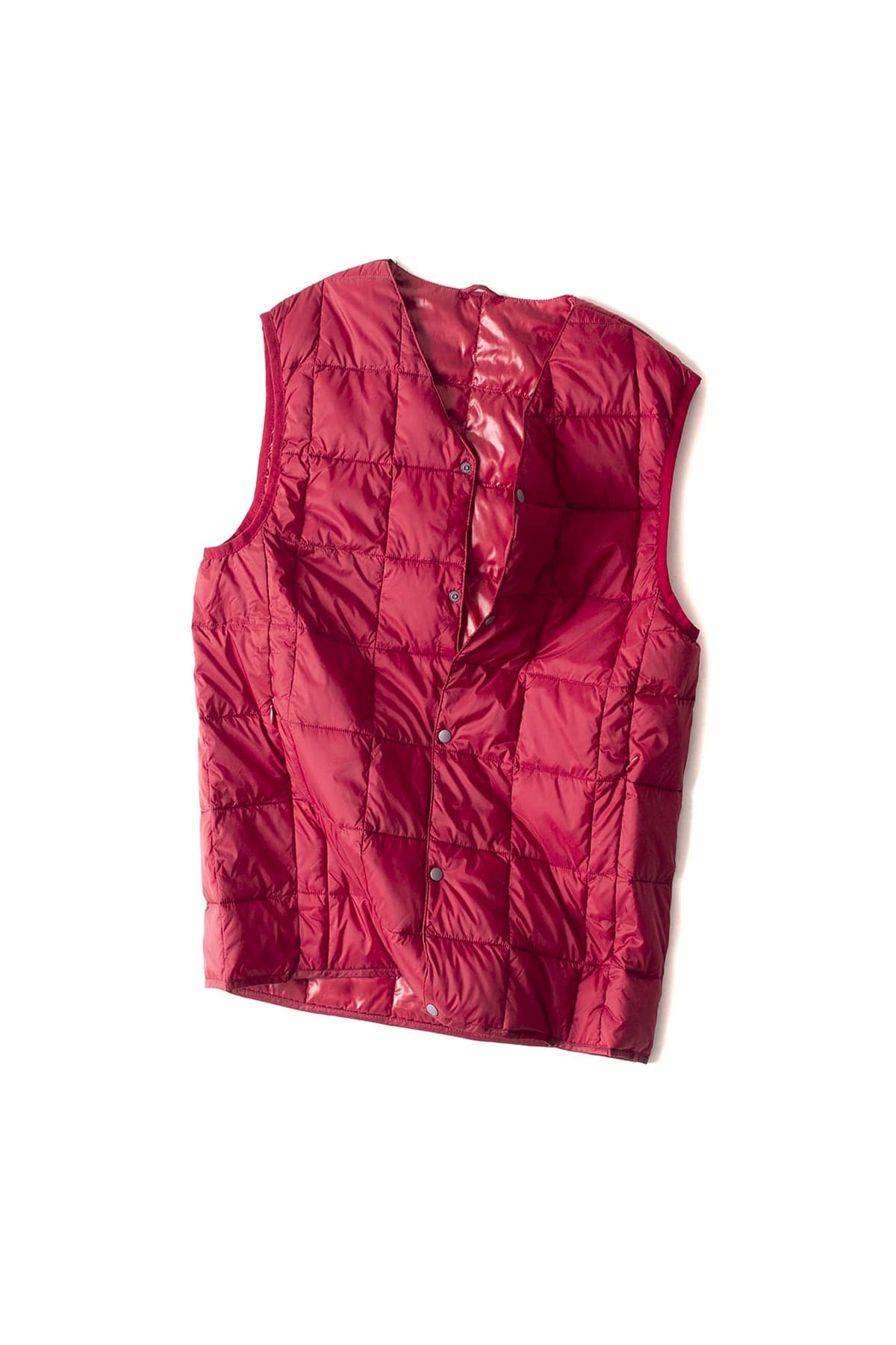 TAION :  V Neck Button Down Vest (Dark Red)