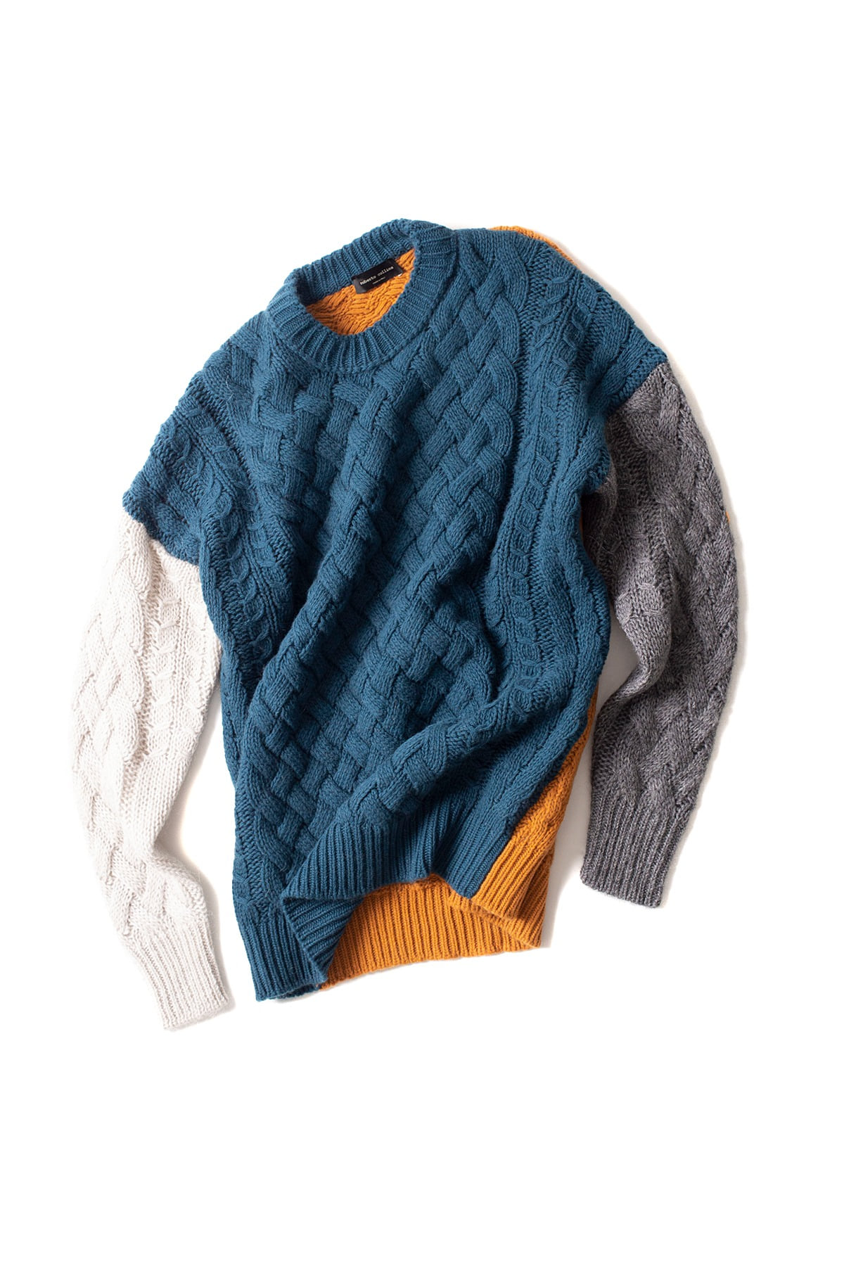 roberto collina : L/S Knit Cable Round Neck (Blue Green)