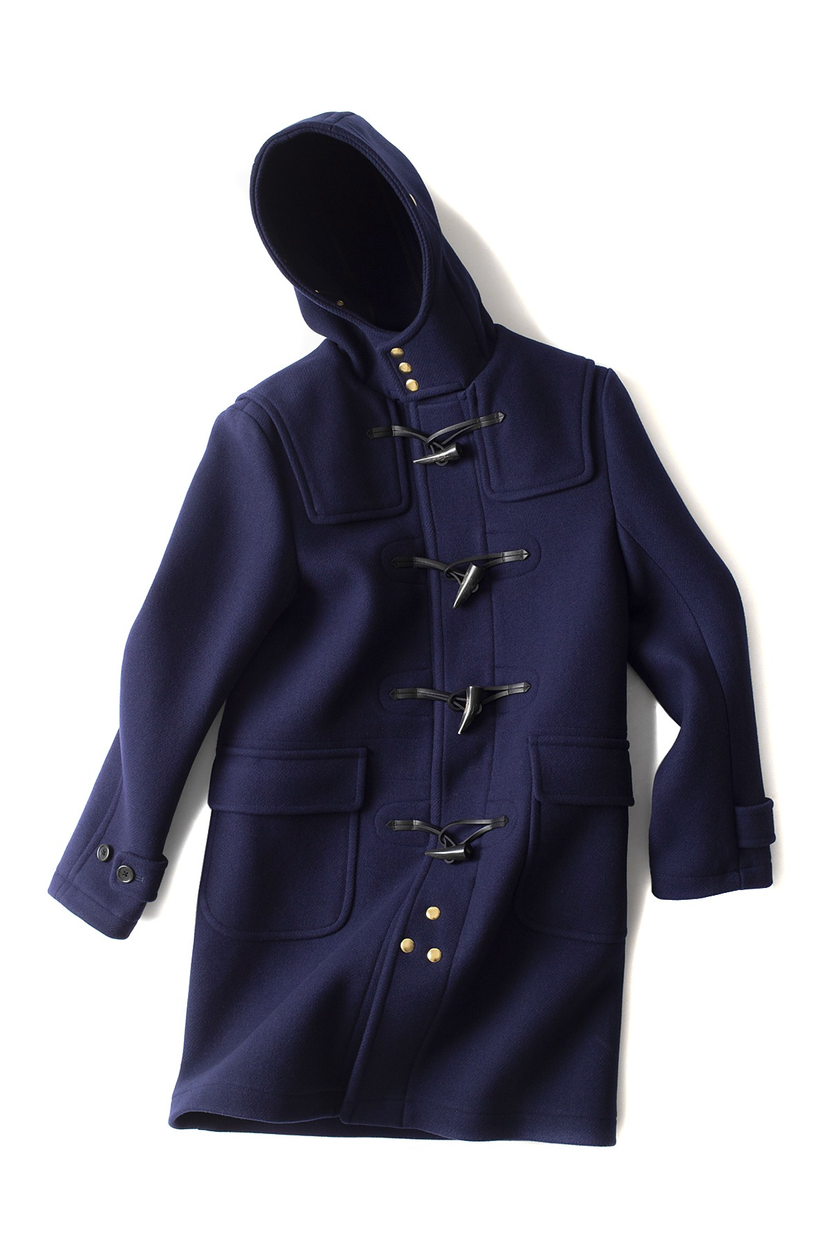Scye Basics : Super Fine Wool Melton Duffle Coat (Navy)