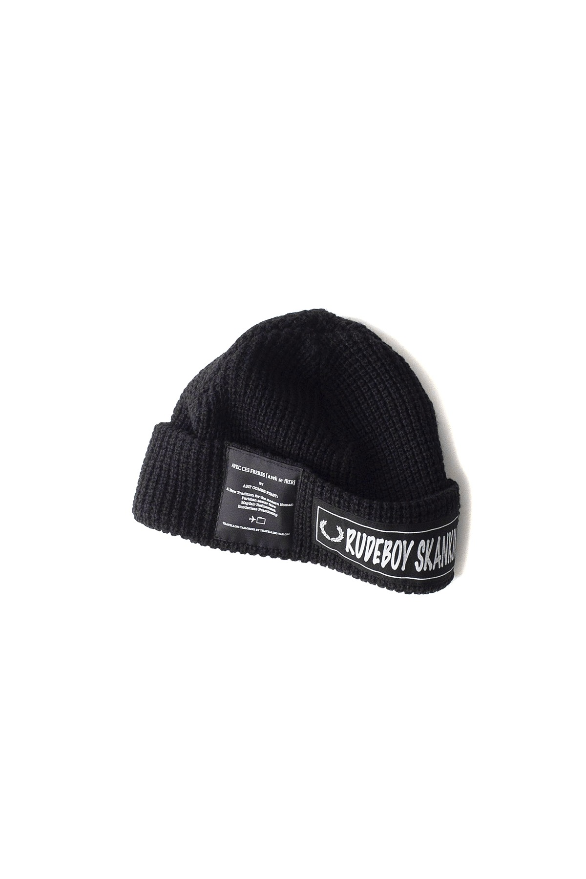 FRED PERRY x ART COMES FIRST : Fishermans Rib Beanie (Black)