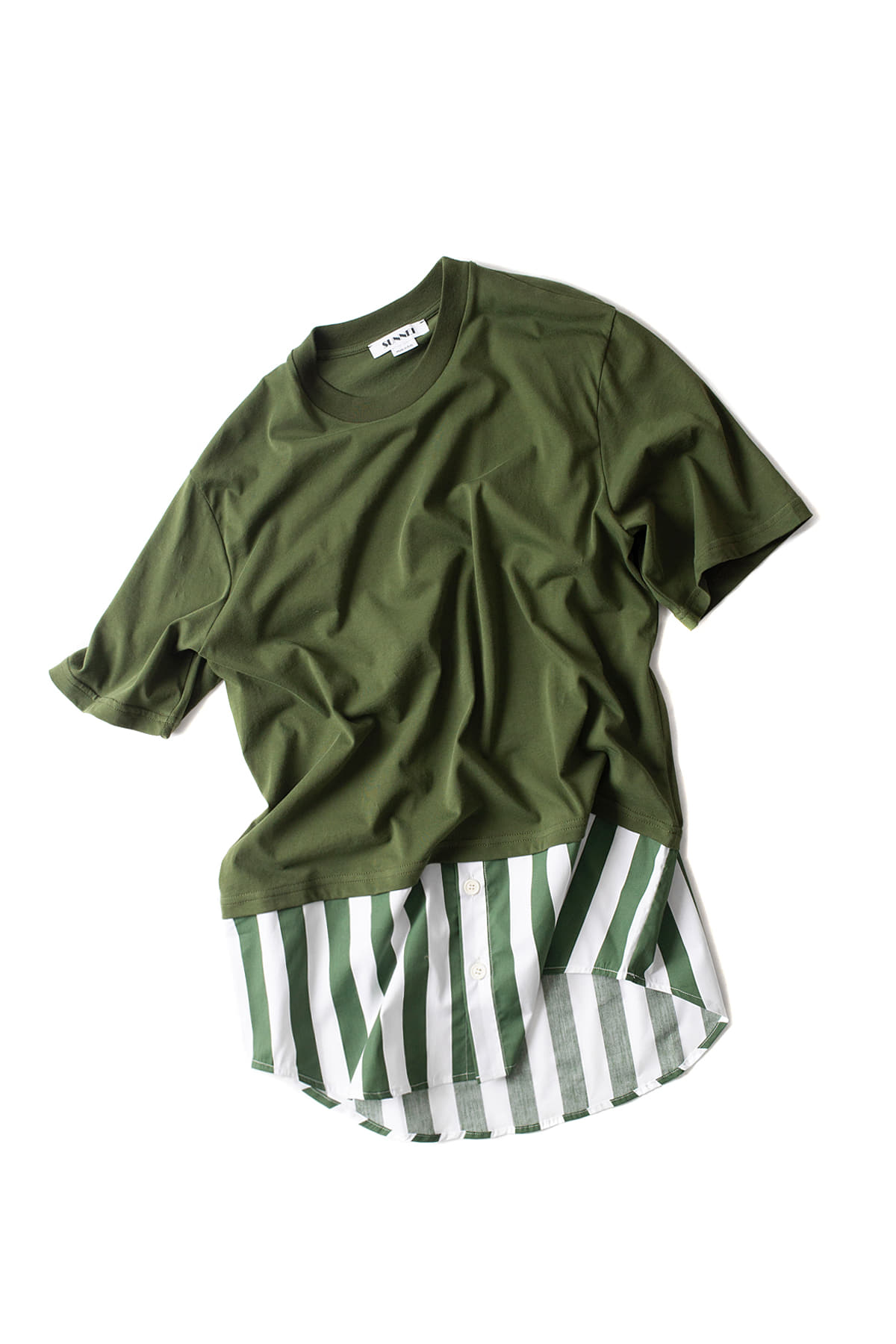 SUNNEI : T-shirt With Popeline (Olive)