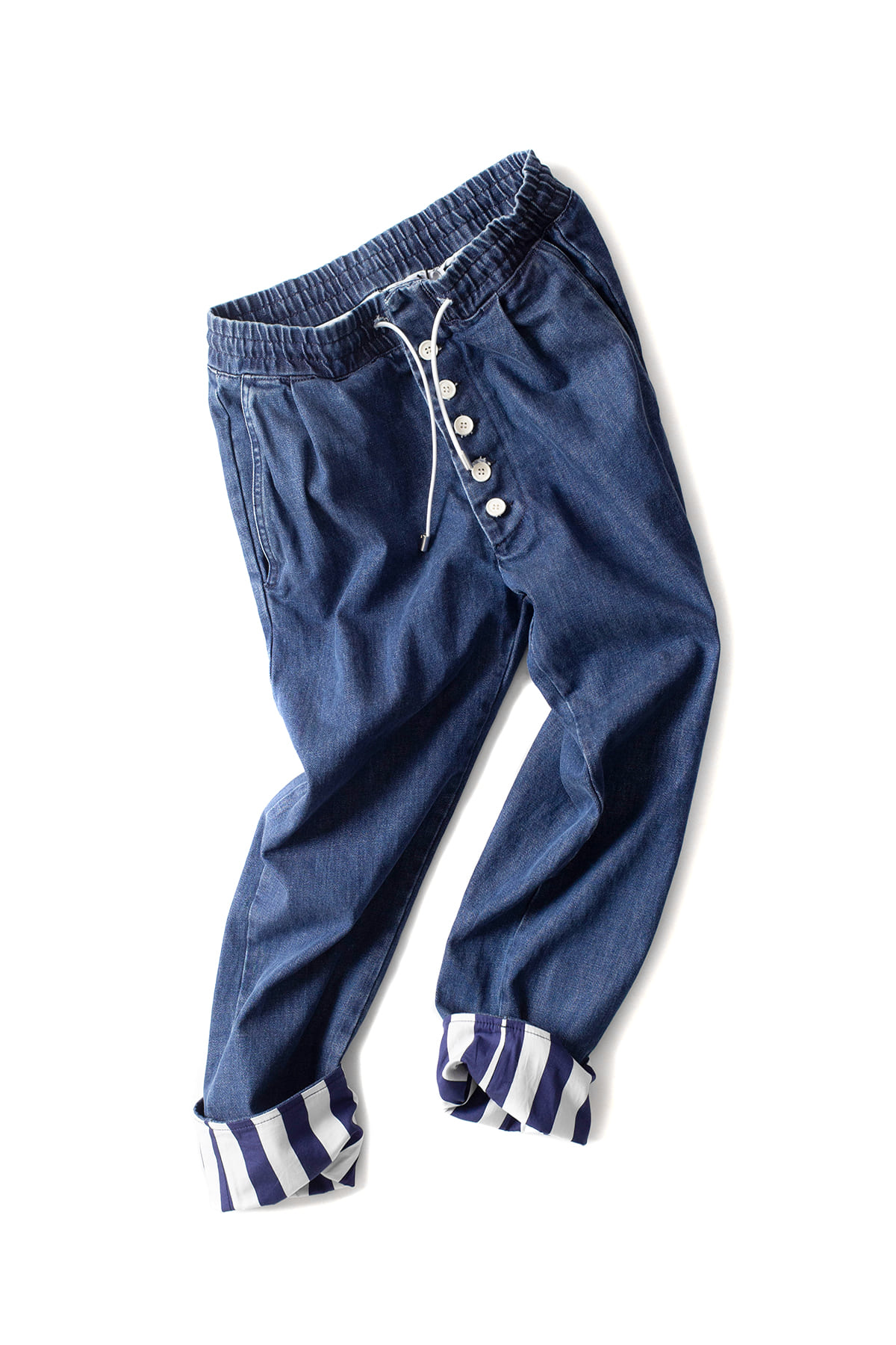 SUNNEI : Washed Denim Elastic Pants (Denim)