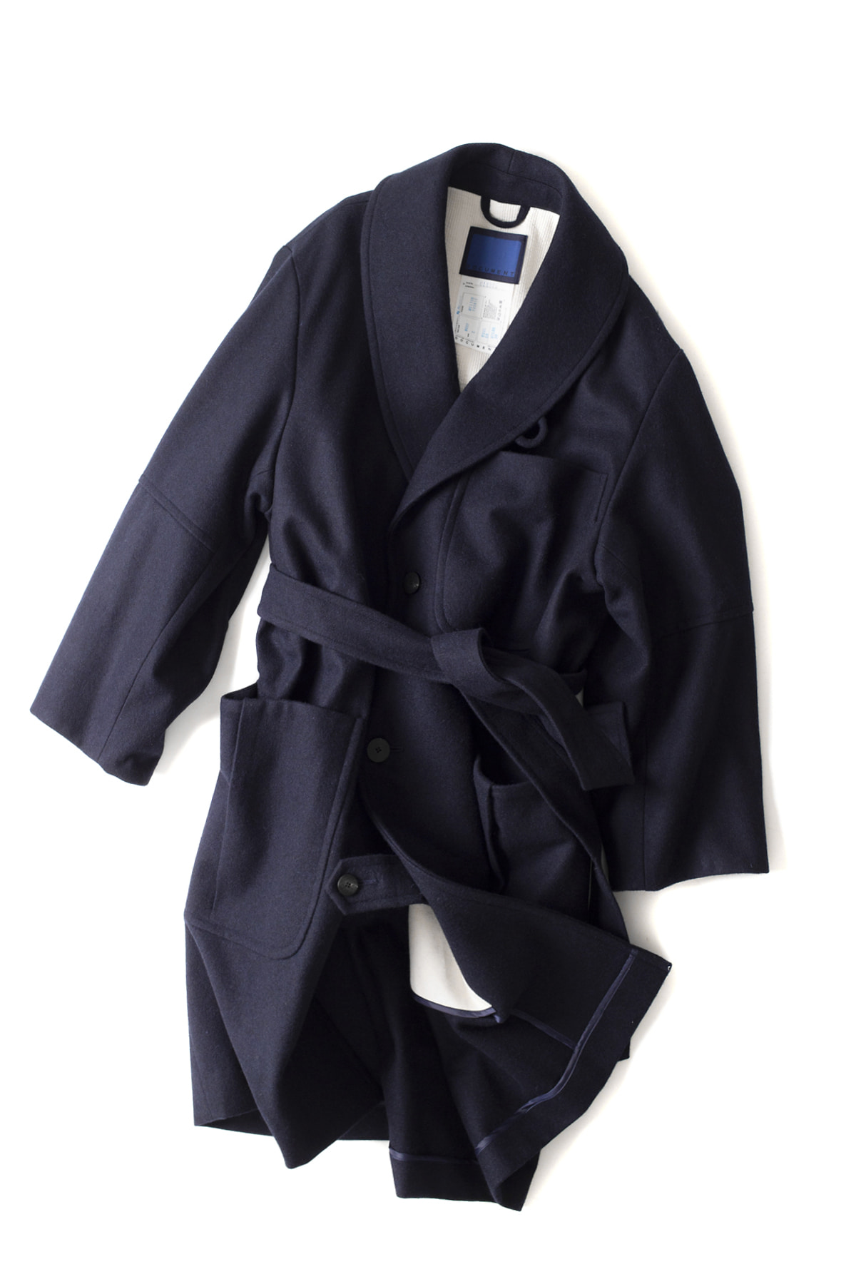 Document : Wool Melton Big Robe Coat (Navy)