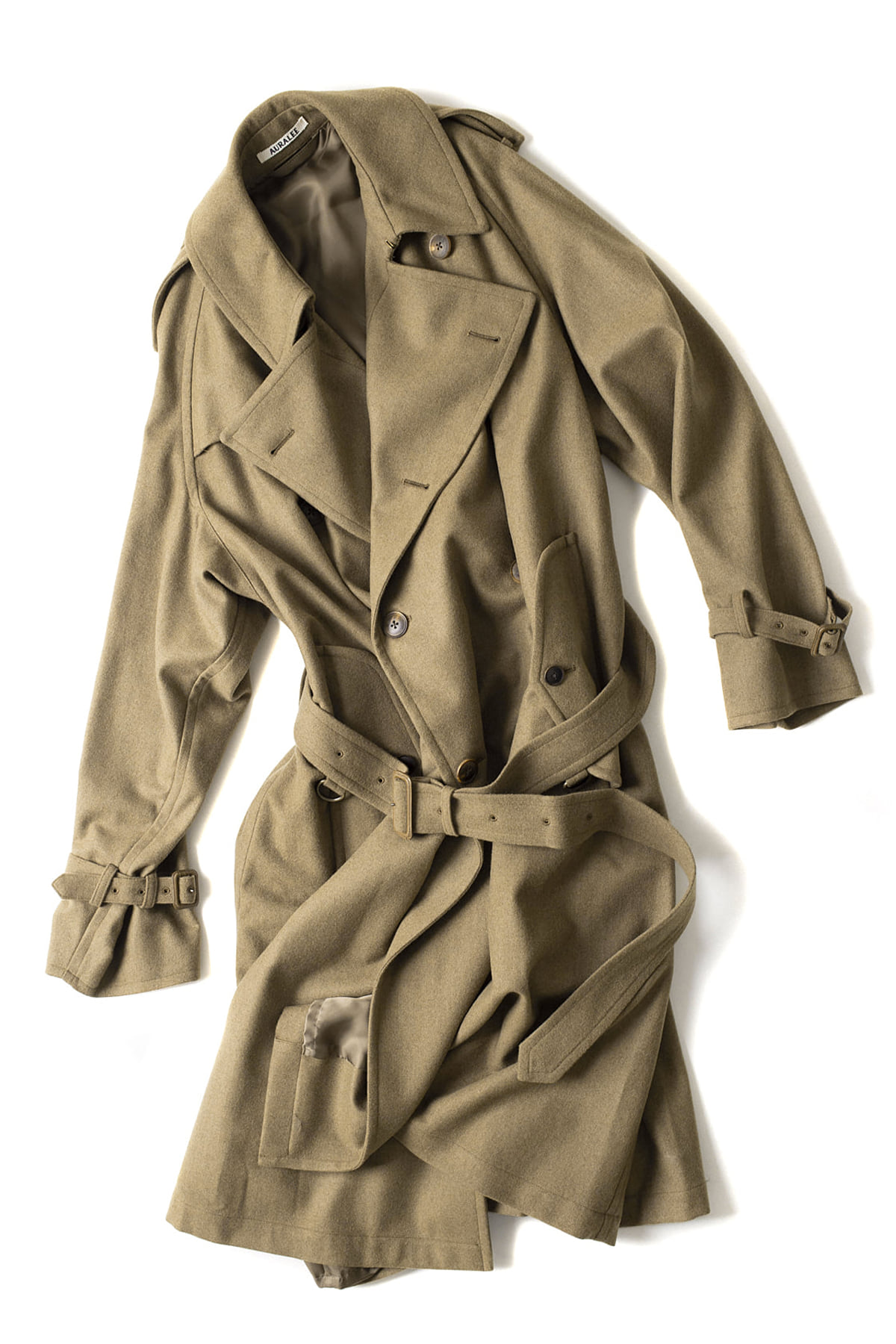 Auralee : Wool Cashmere Flannel Big Trench Coat (Mix Brown)