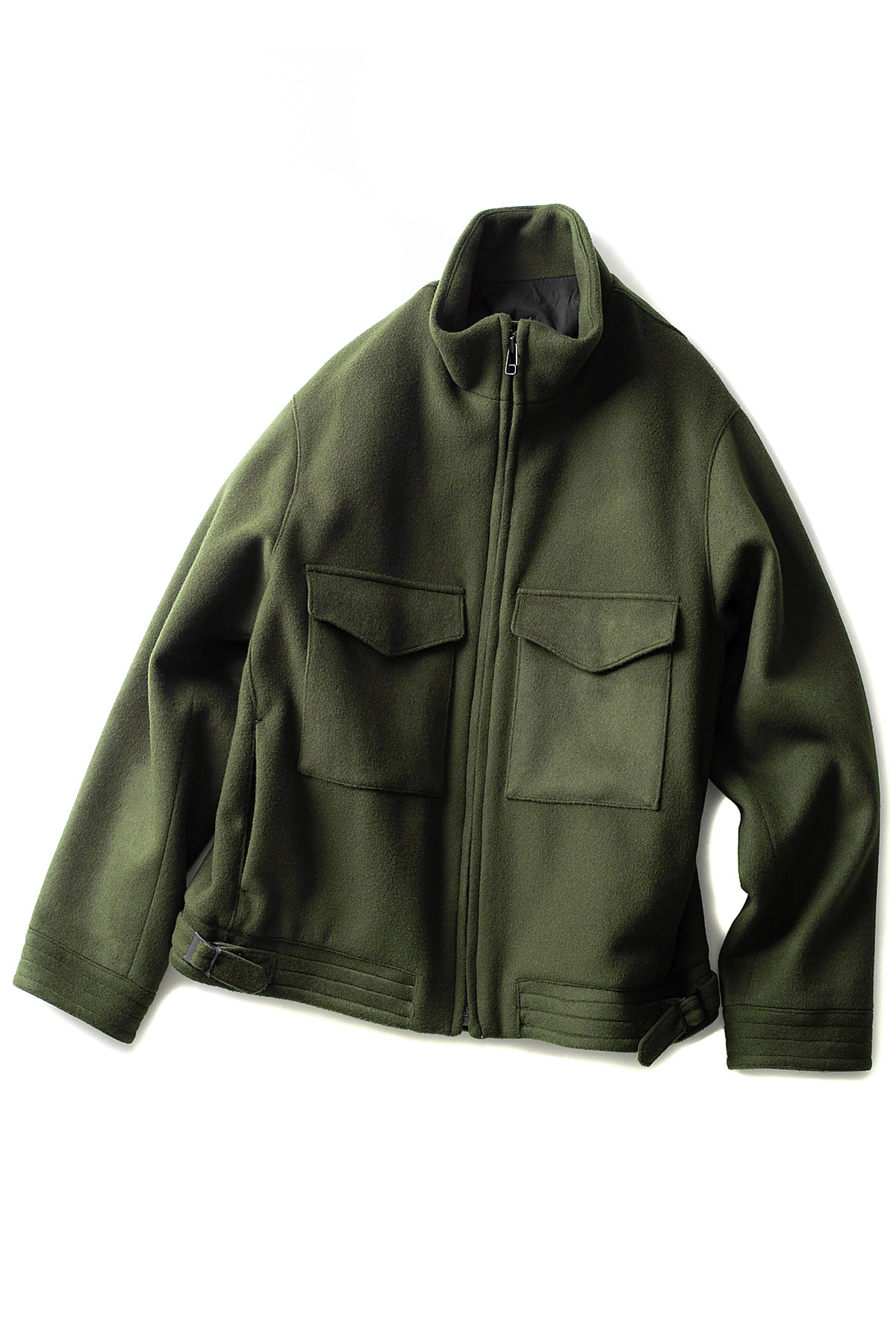 KURO : Super 100's Stand Collar Jacket (Khaki)