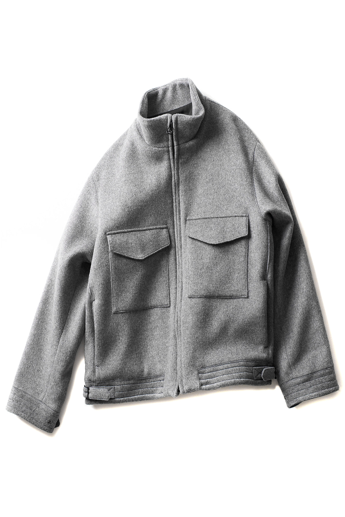 KURO : Super 100's Stand Collar Jacket (Grey)