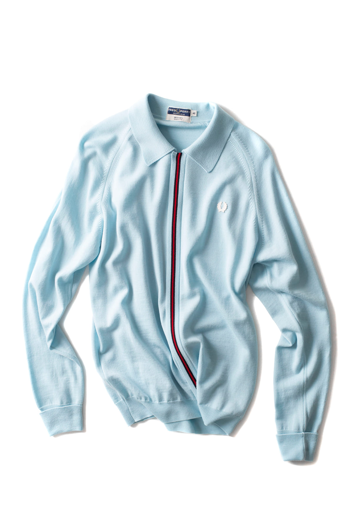 FRED PERRY : L/S Zip Through Knitted Shirt (Teal Green)
