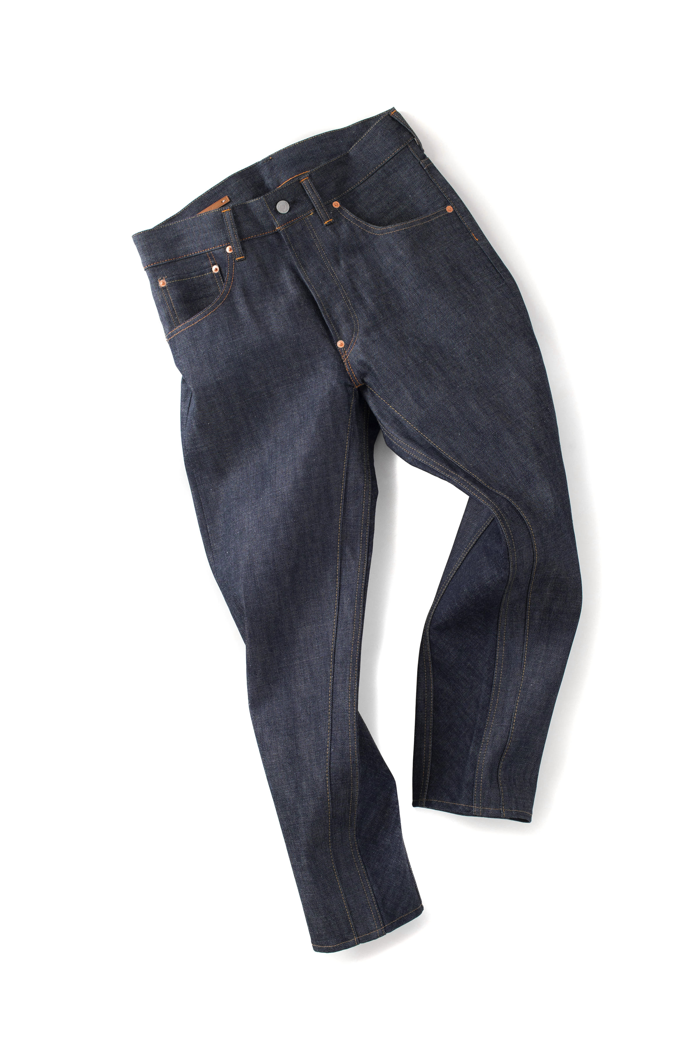 Scye Basics : Selvedge Denim Tapered Paneled Jeans (Indigo)